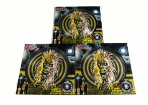 Iron Maiden Picture Discs, three copies of the 40th Anniversary Edition of the Self titled Debut