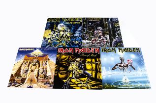 Iron Maiden LPs, five albums from the 2014 Reissue series comprising Powerslave, Live After Death,