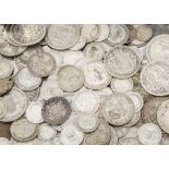 A collection of British silver and other coinage, including a George II and III shilling, F-VF,