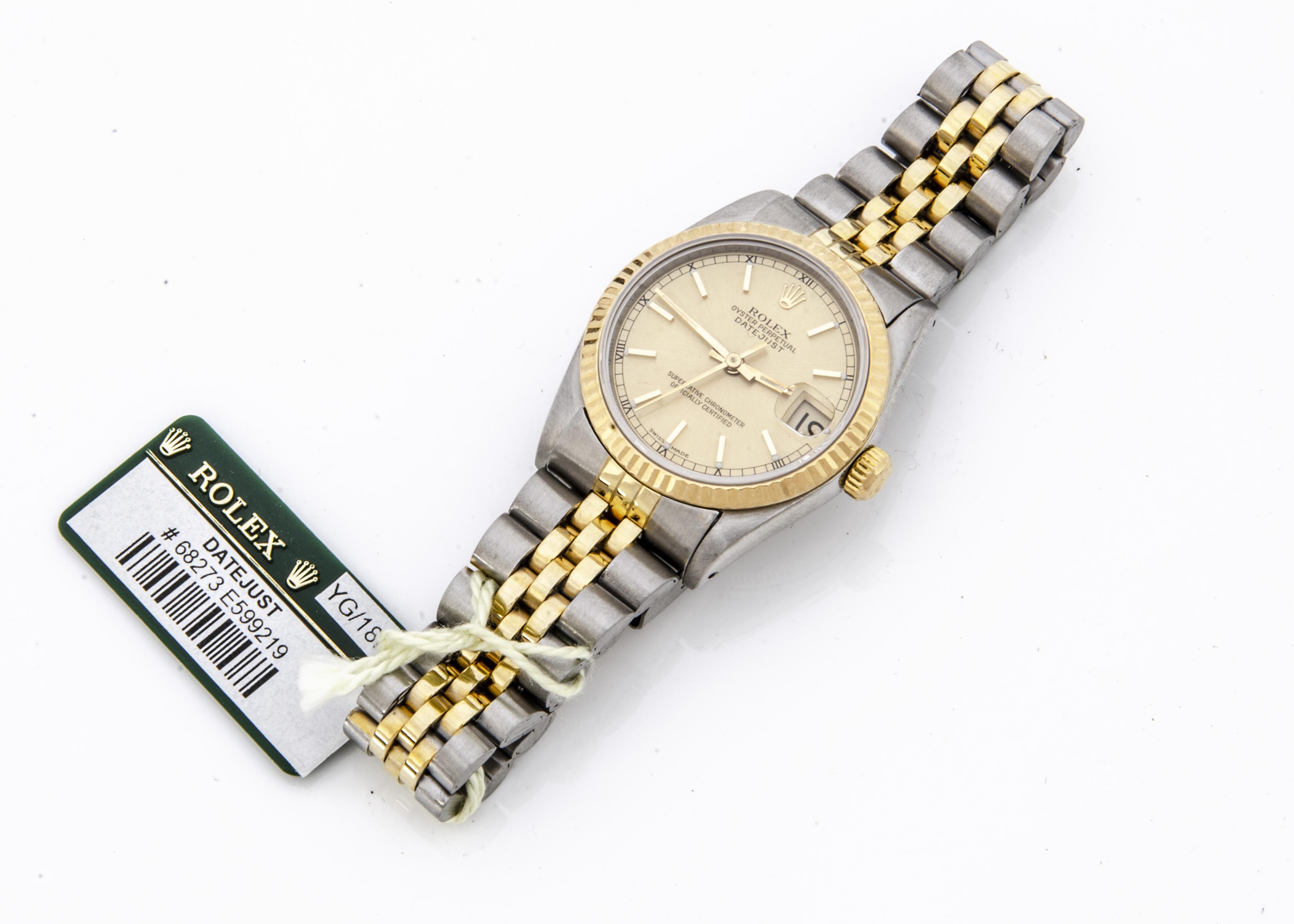 A 1990s Rolex Oyster Perpetual Datejust Bi-metal lady's mid-sized wristwatch, 29mm, ref. 68273, gilt