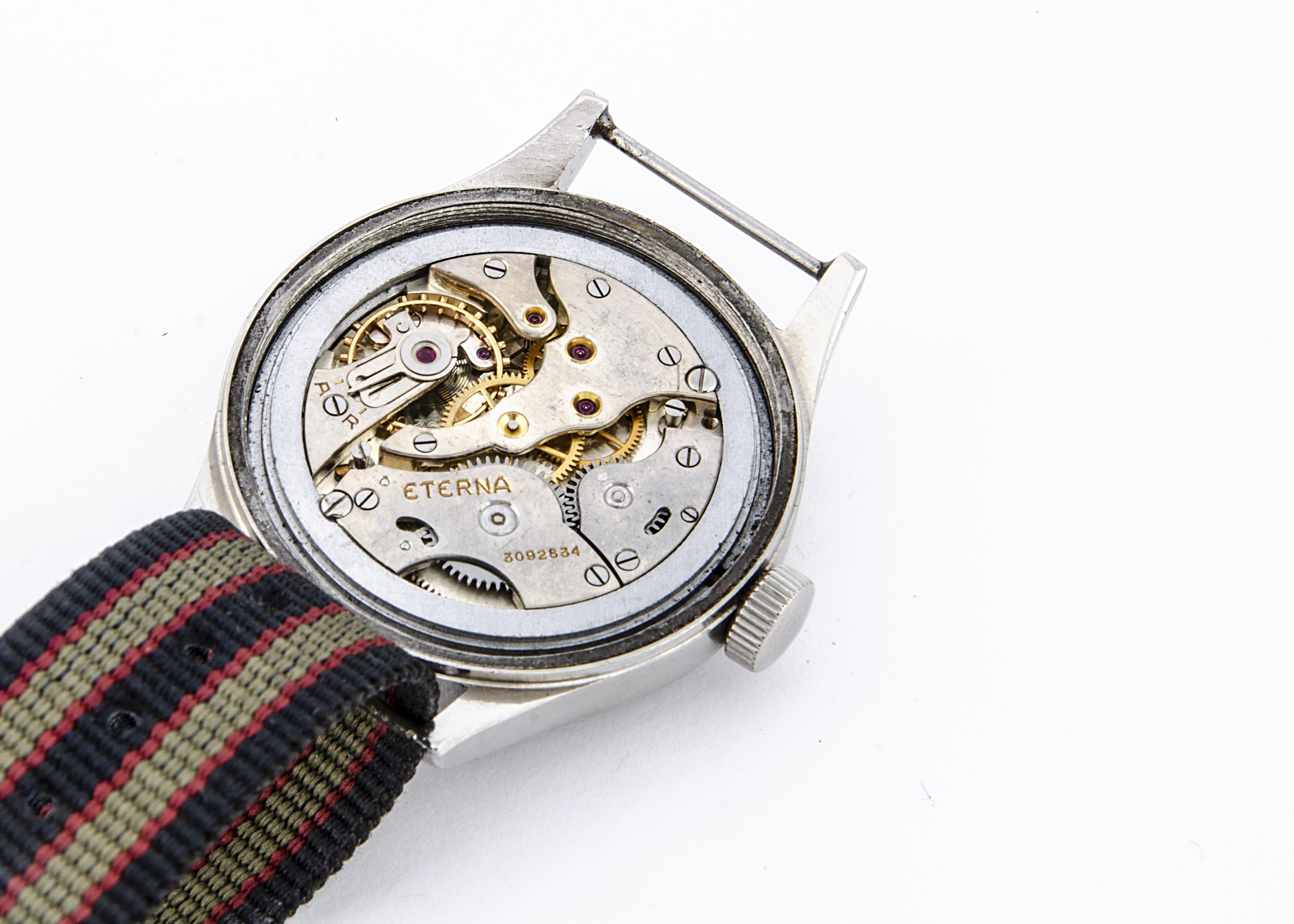 "A c1940s Eterna WWW Military ""Dirty Dozen"" stainless steel wristwatch, 36mm case, running, black - Image 2 of 6"