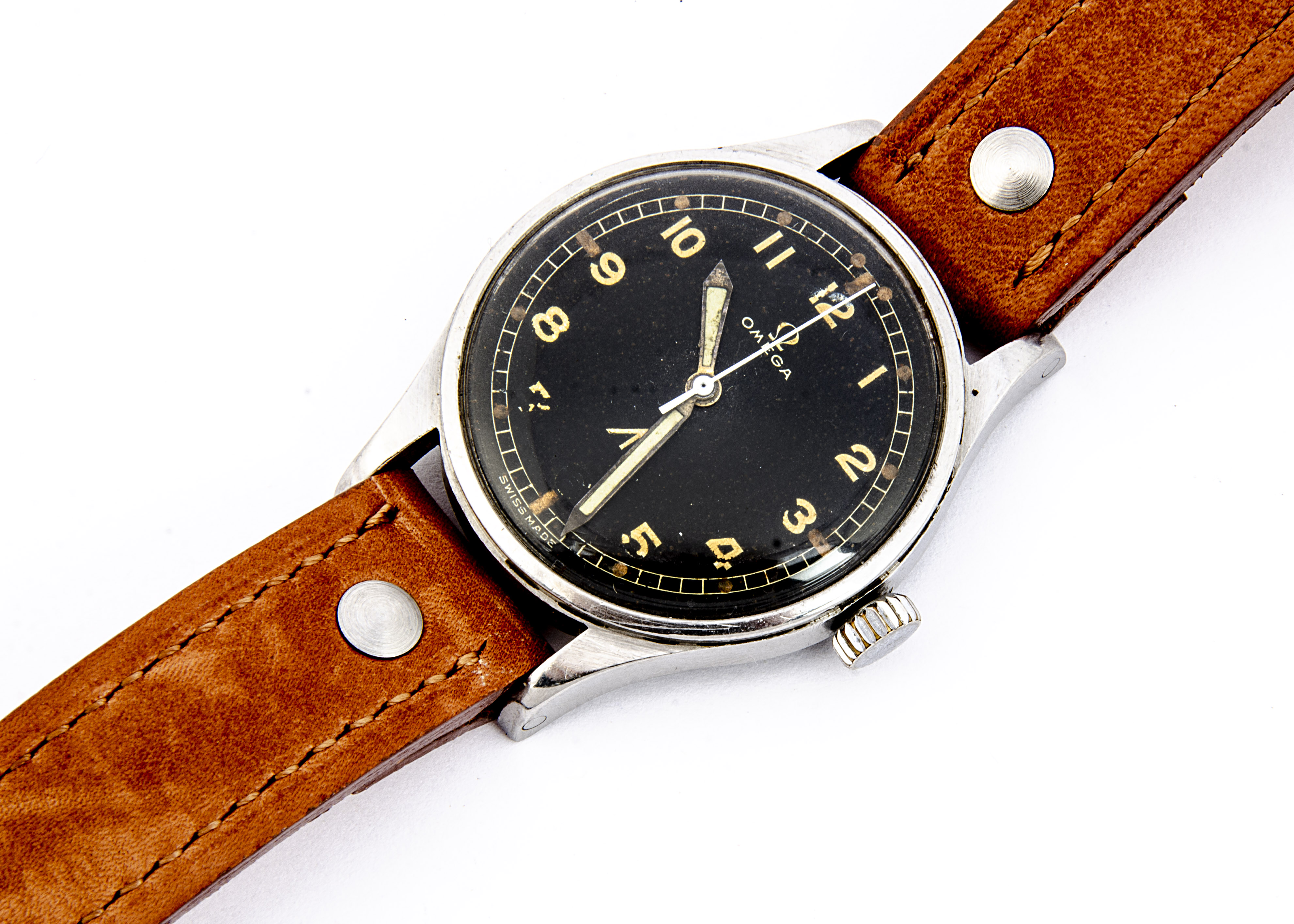 "A 1953 Omega Military Royal Air Force (RAF) ""Narrow Arrow"" stainless steel wristwatch, 36mm case,"