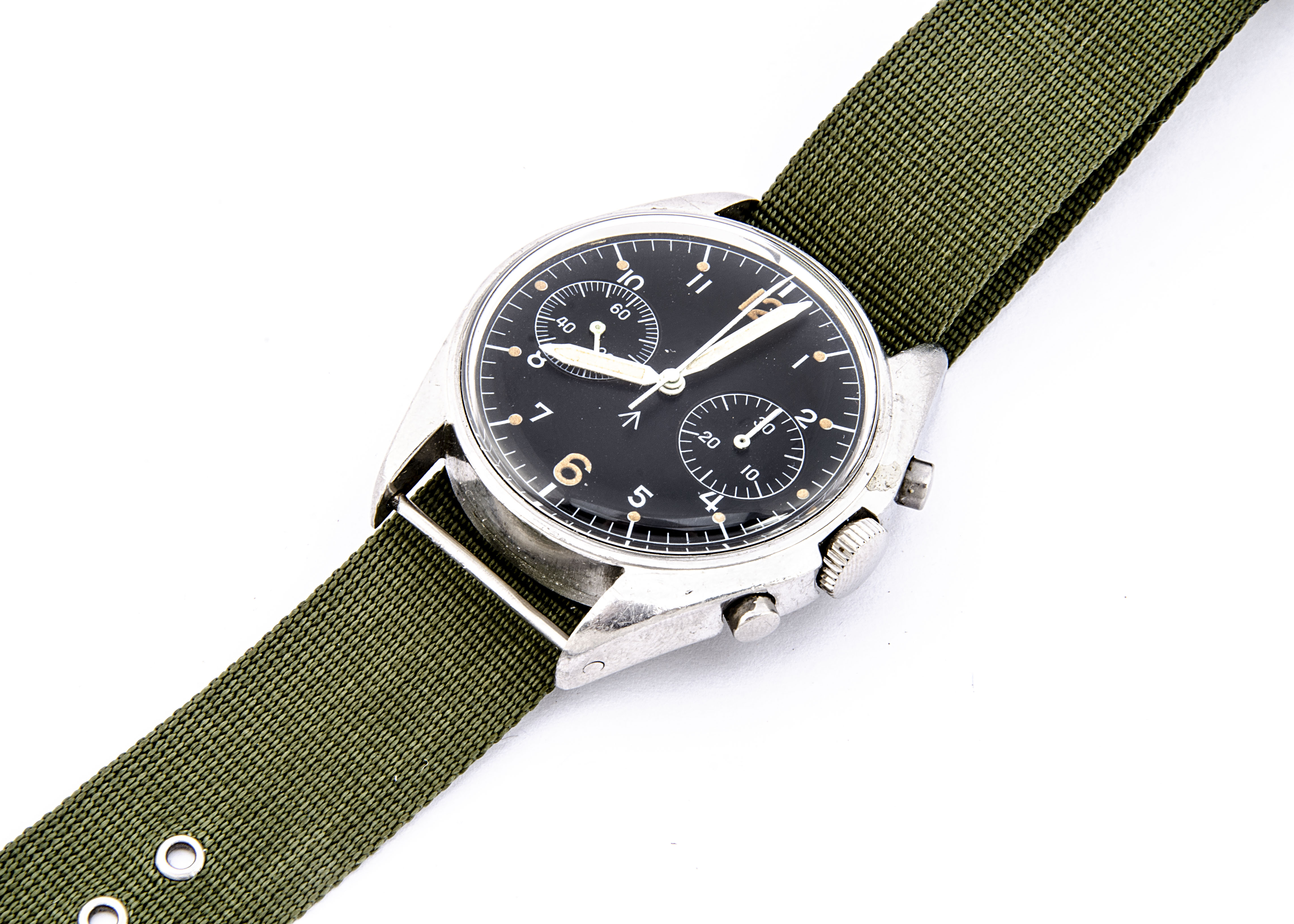 A c1970s Hamilton two button chronograph Royal Air Force stainless steel wristwatch, 38mm case,