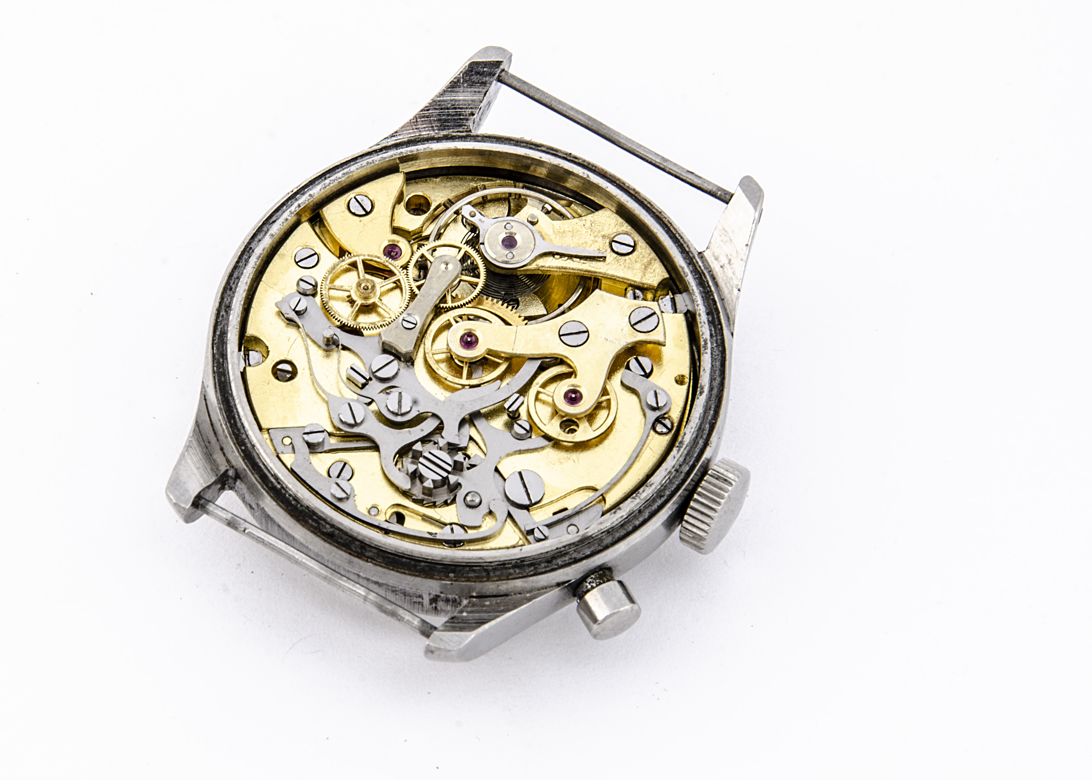 A c1950/60s Lemania Royal Navy / FAA single button chronograph stainless steel wristwatch, 37mm - Image 2 of 4