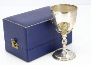 A good late 1960s silver goblet from Asprey & Co, in fitted box, London 1969, 9.55 ozt, 15.5cm, good