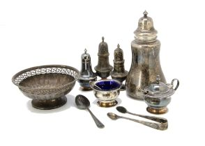 A small group of Victorian and 20th Century silver items, including a sugar sifter, a salt and