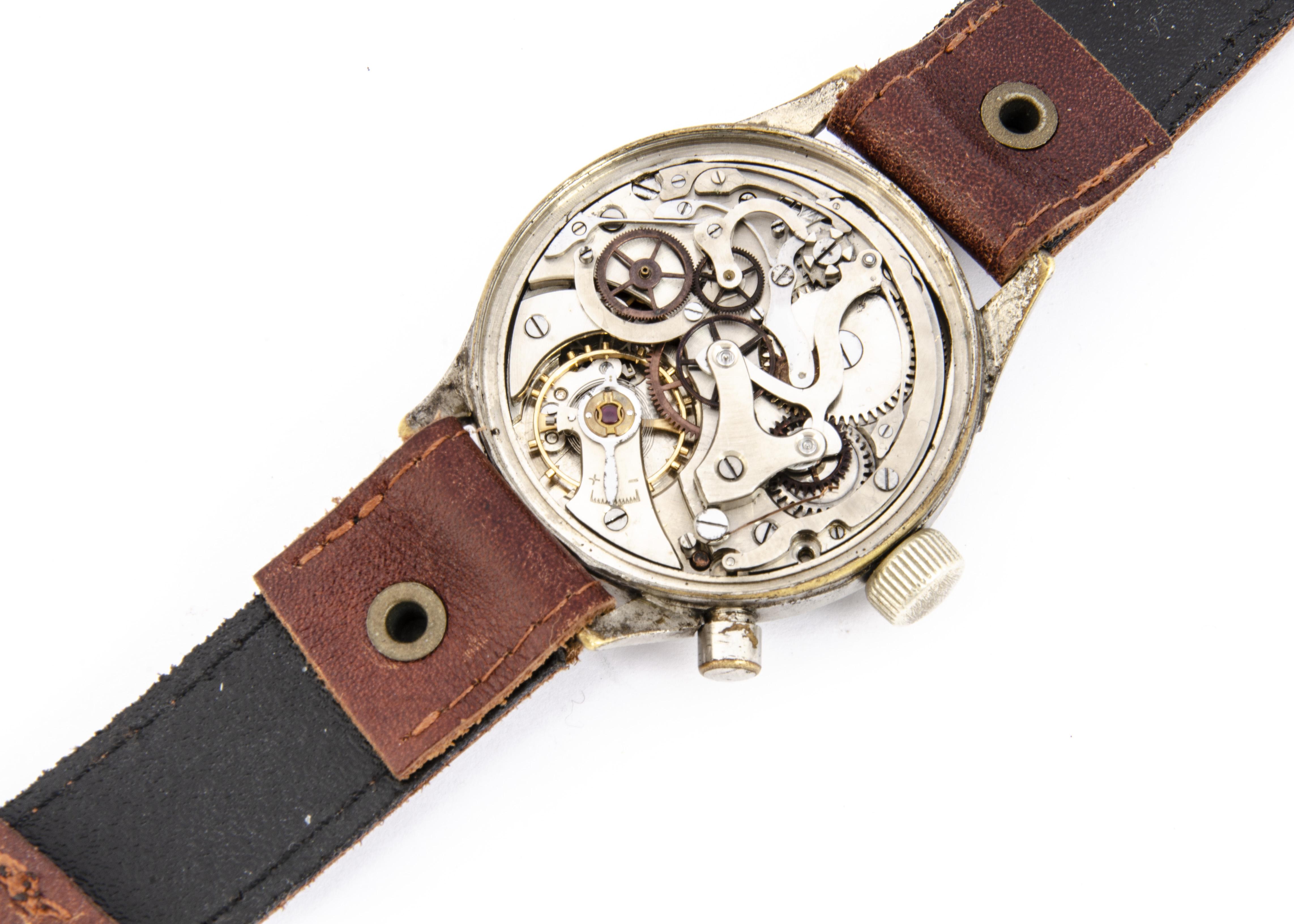 A WWII period Hanhart German Luftwaffe chronograph wristwatch, 40mm plated nickel case, running, - Image 2 of 6