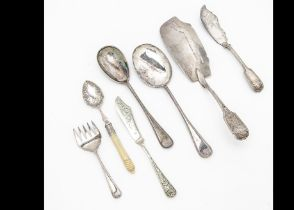 A George III silver fish slice and silver plated cutlery, the slice by EL and 3.8 ozt, along with