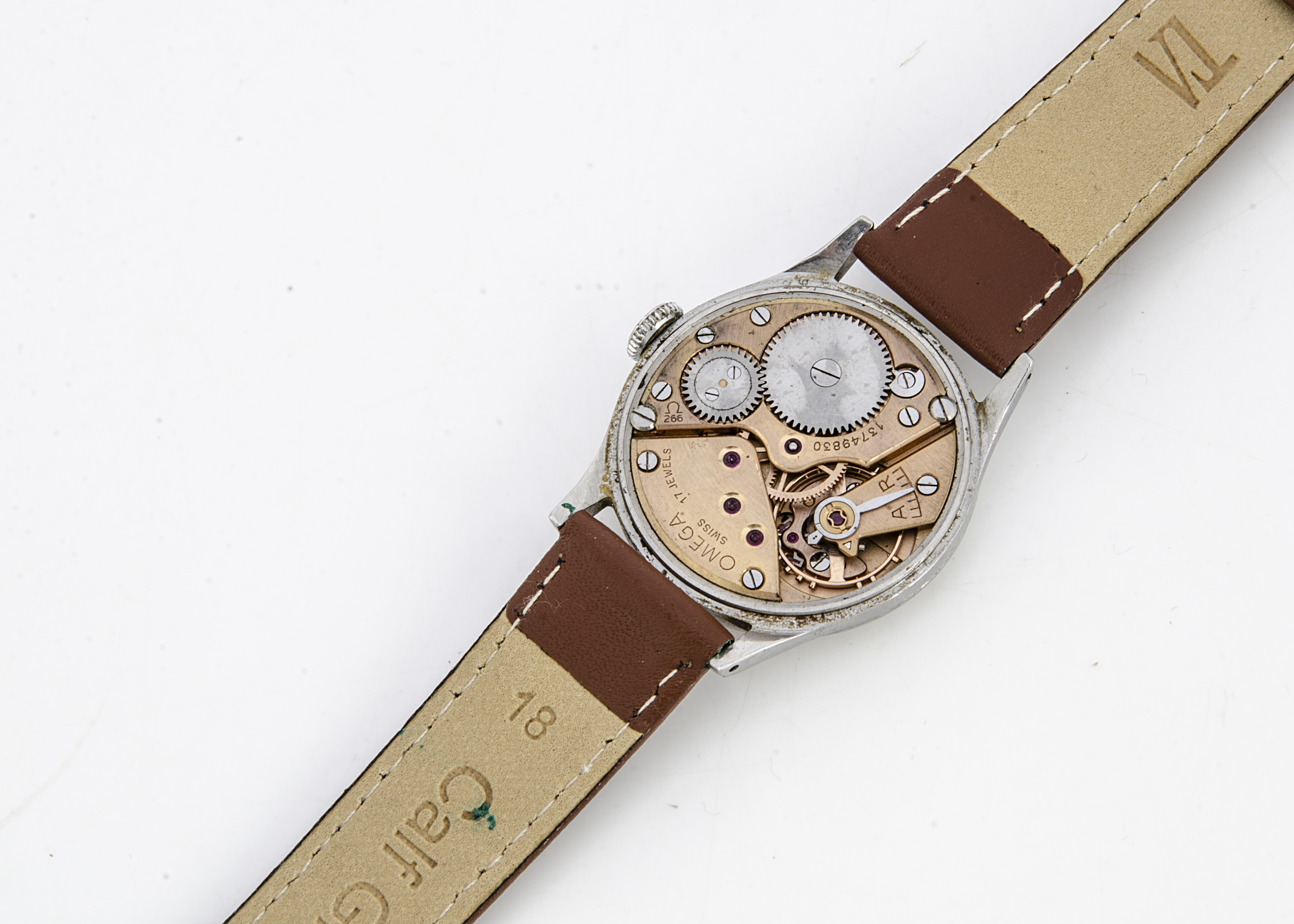 A 1950s Omega stainless steel gentleman's wristwatch, 34mm, cream coloured dial with batons, - Image 2 of 3