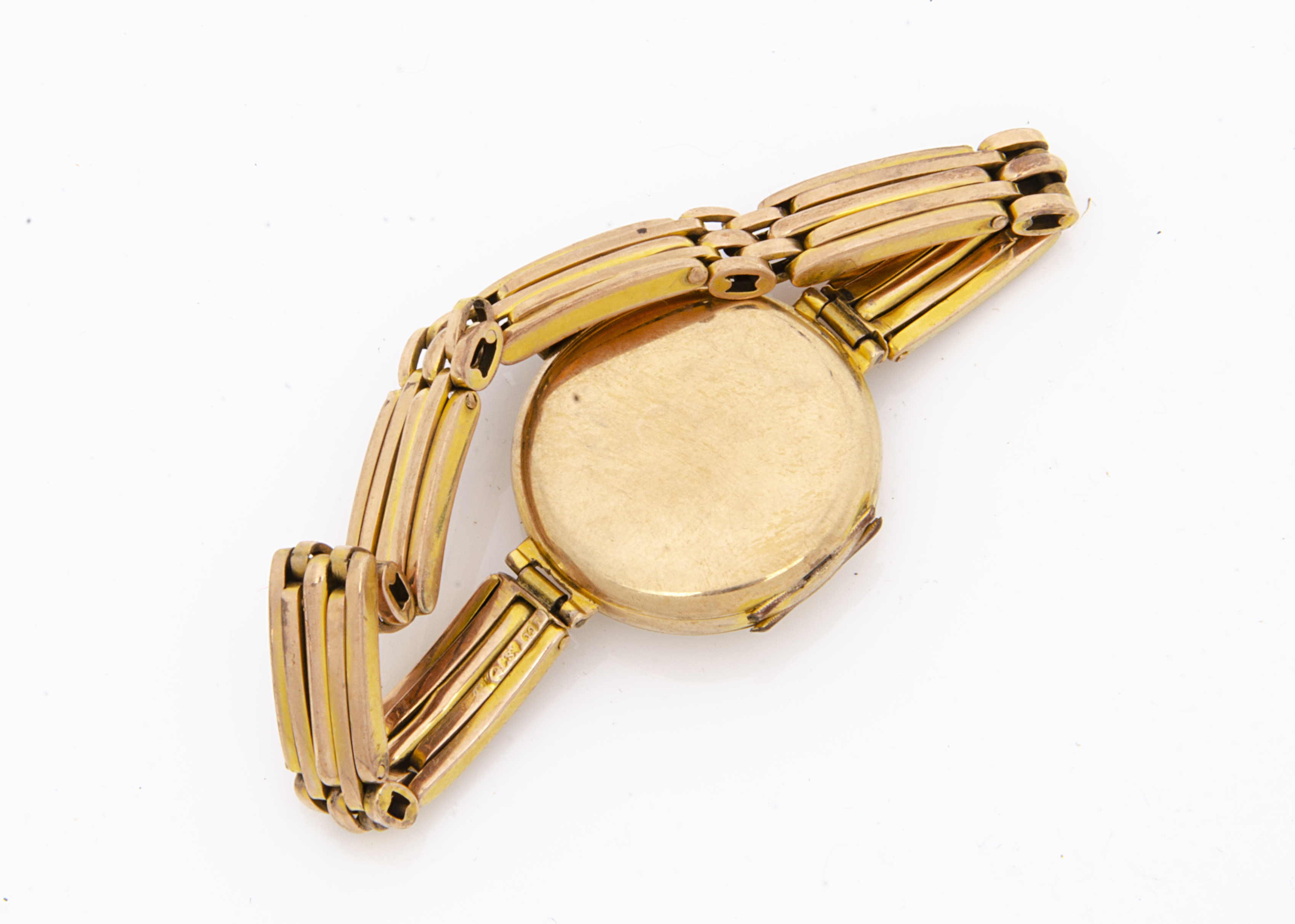 An Art Deco period Buren 9ct gold trench style lady's wristwatch, 22mm case, hinge damaged and - Image 2 of 2