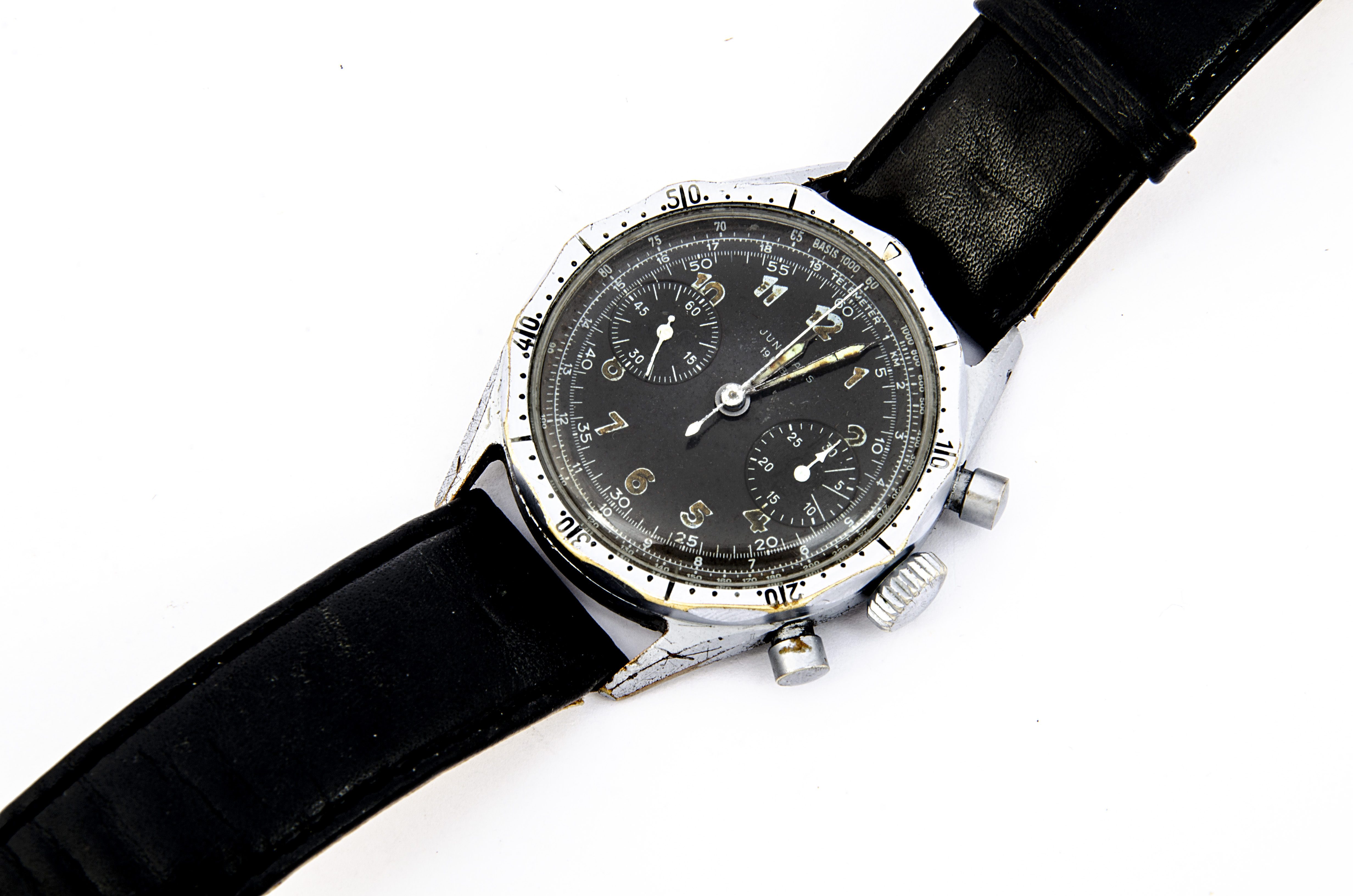 A c1960s Junghans Military German Airforce wristwatch, 38mm nickel plated case, running, two push