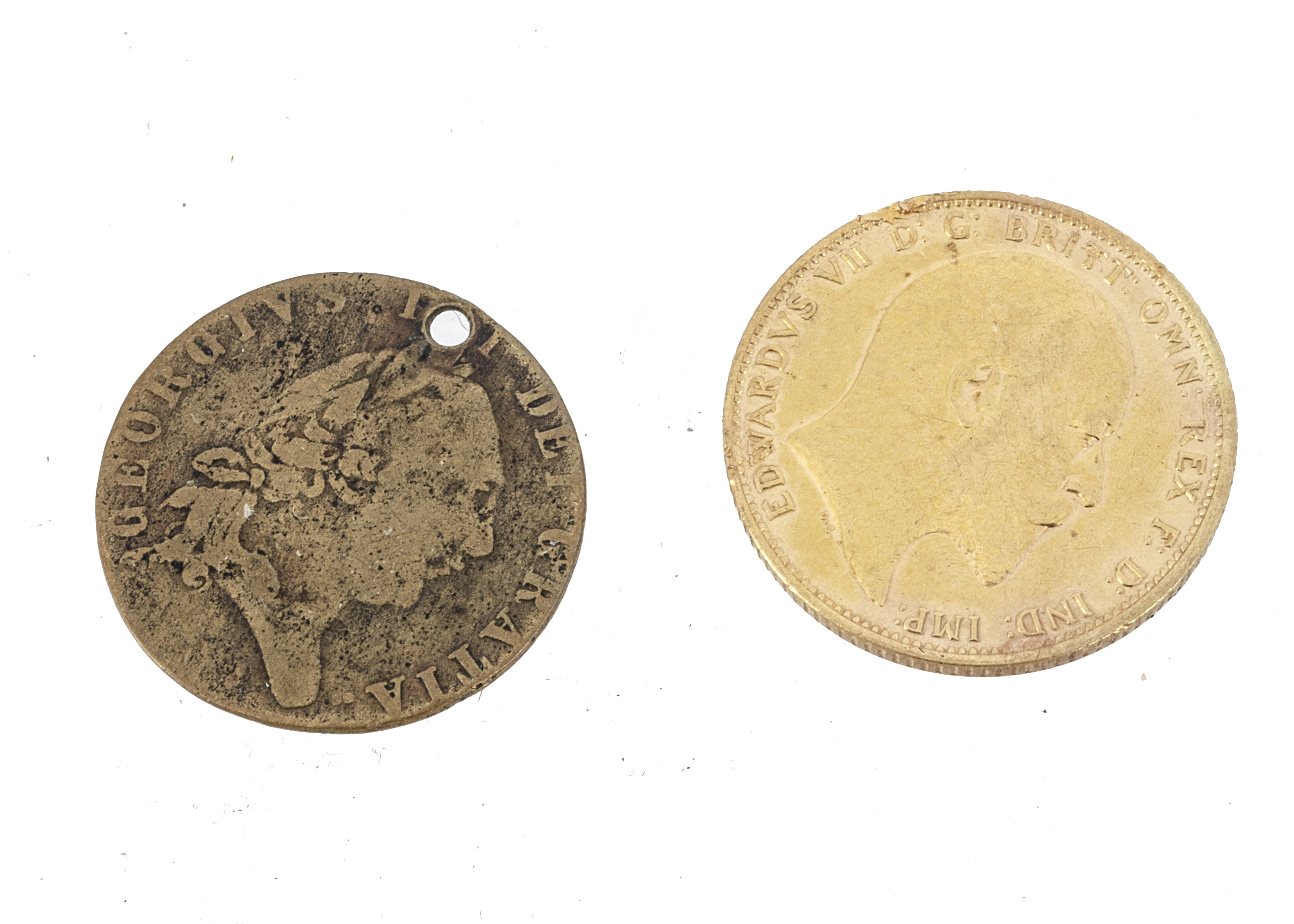 An Edwardian style yellow metal coin, possibly a restruck 1906 sovereign, 7.9g, together with a - Image 2 of 2