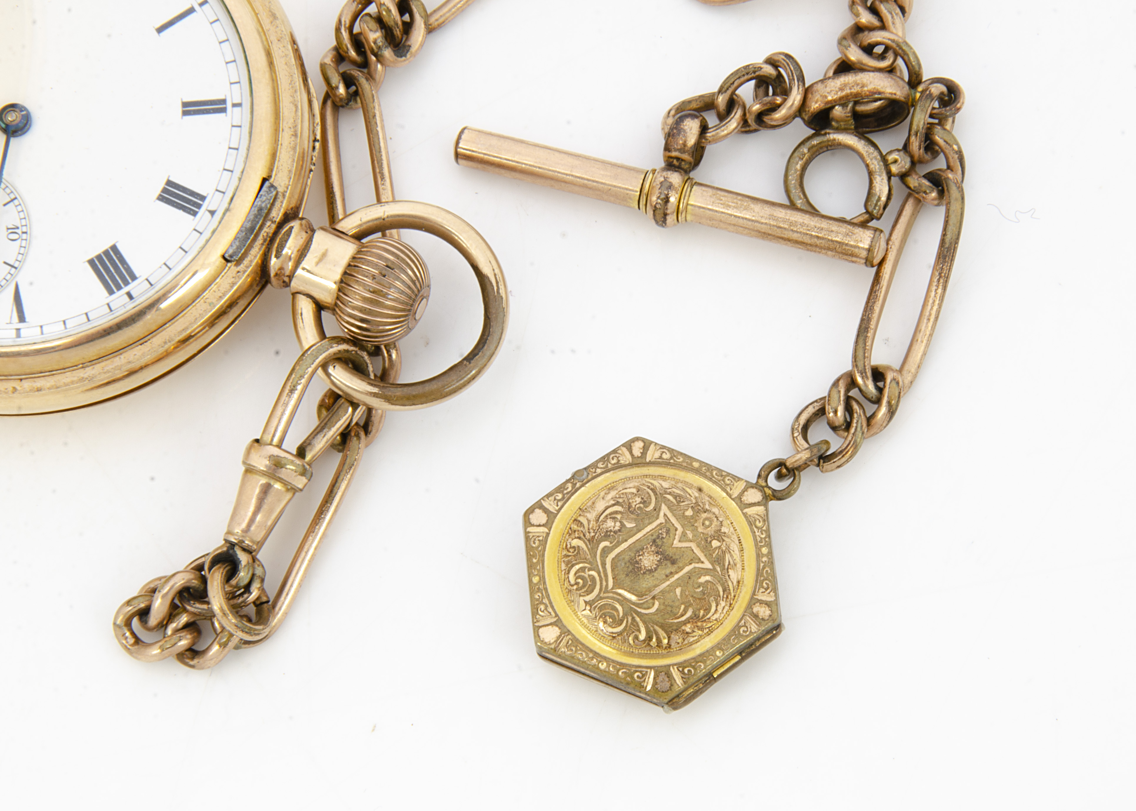 An early 20th Century Waltham gold plated full hunter pocket watch, 55mm, appears to run, with a - Image 3 of 3