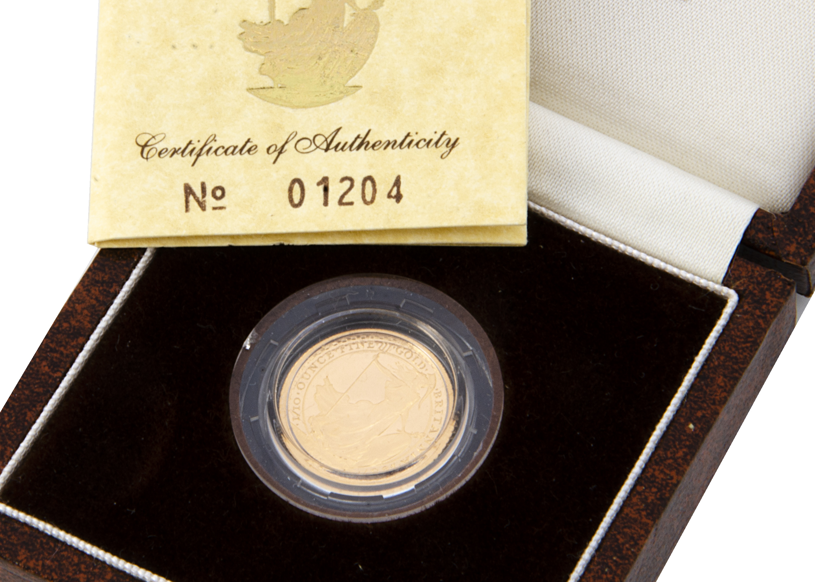 A modern Royal Mint Britannia 1/10 oz Gold Proof £10 coin, dated 1987, in box with certificate, 3.4g