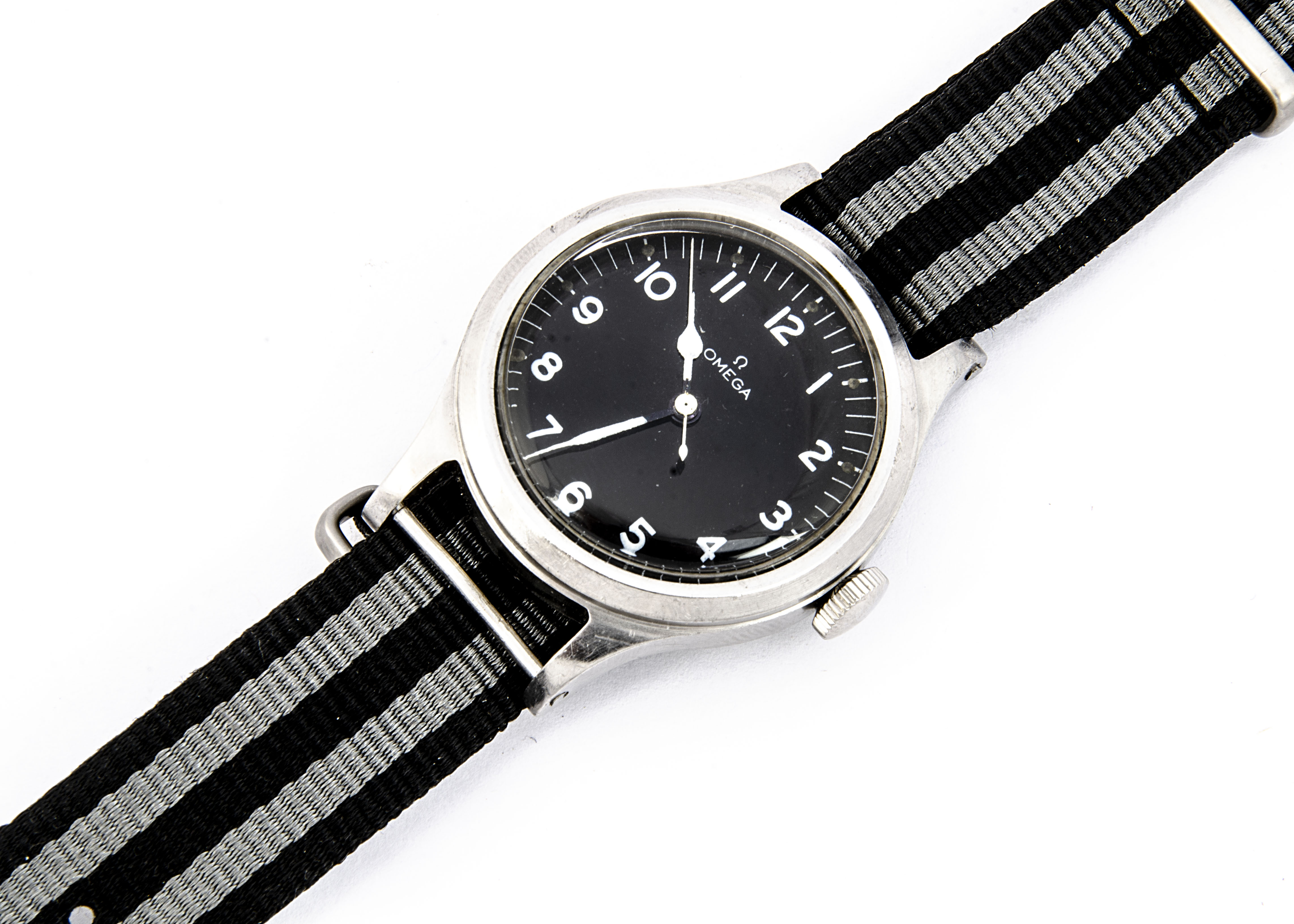 A 1956 Omega Military Royal Air Force stainless steel wristwatch, 36mm case, running, black dial