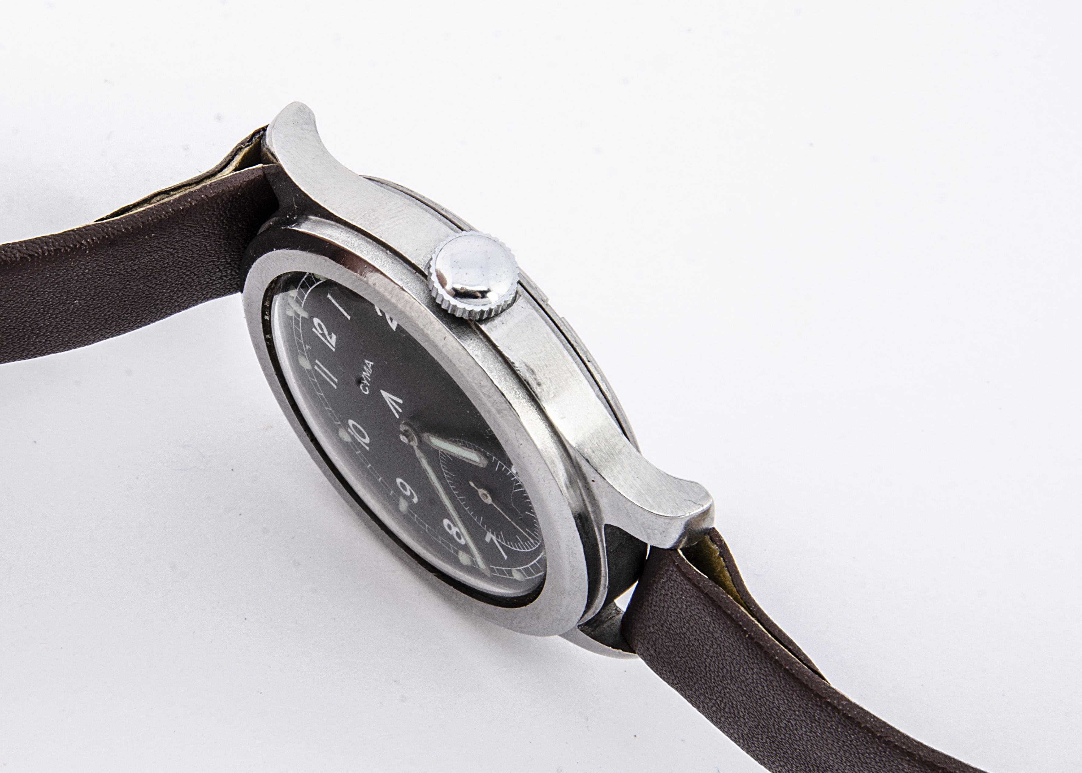 """A c1940s Cyma WWW Military """"Dirty Dozen"""" stainless steel wristwatch, 37mm case, running, black - Image 7 of 7"""