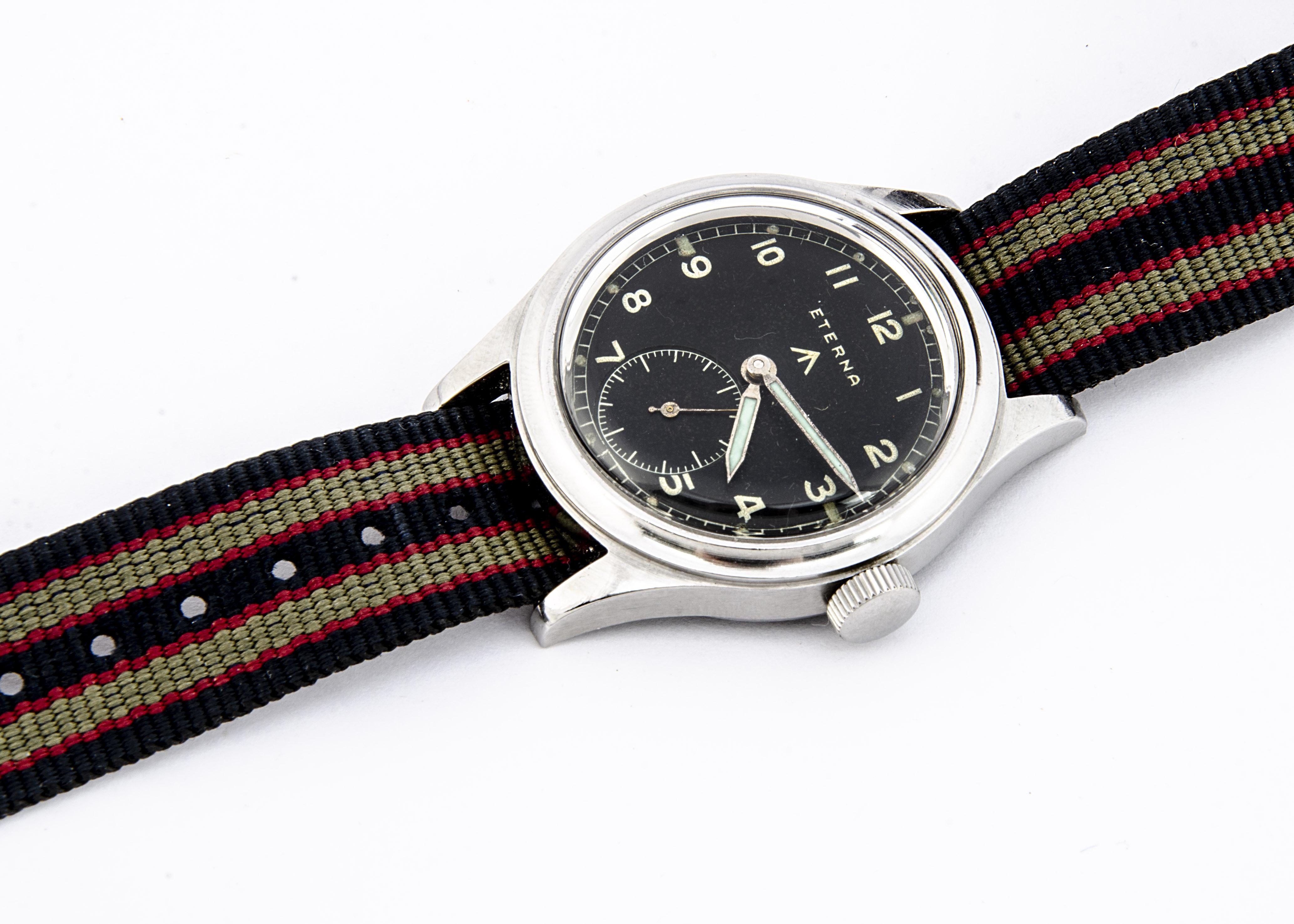 "A c1940s Eterna WWW Military ""Dirty Dozen"" stainless steel wristwatch, 36mm case, running, black - Image 4 of 6"