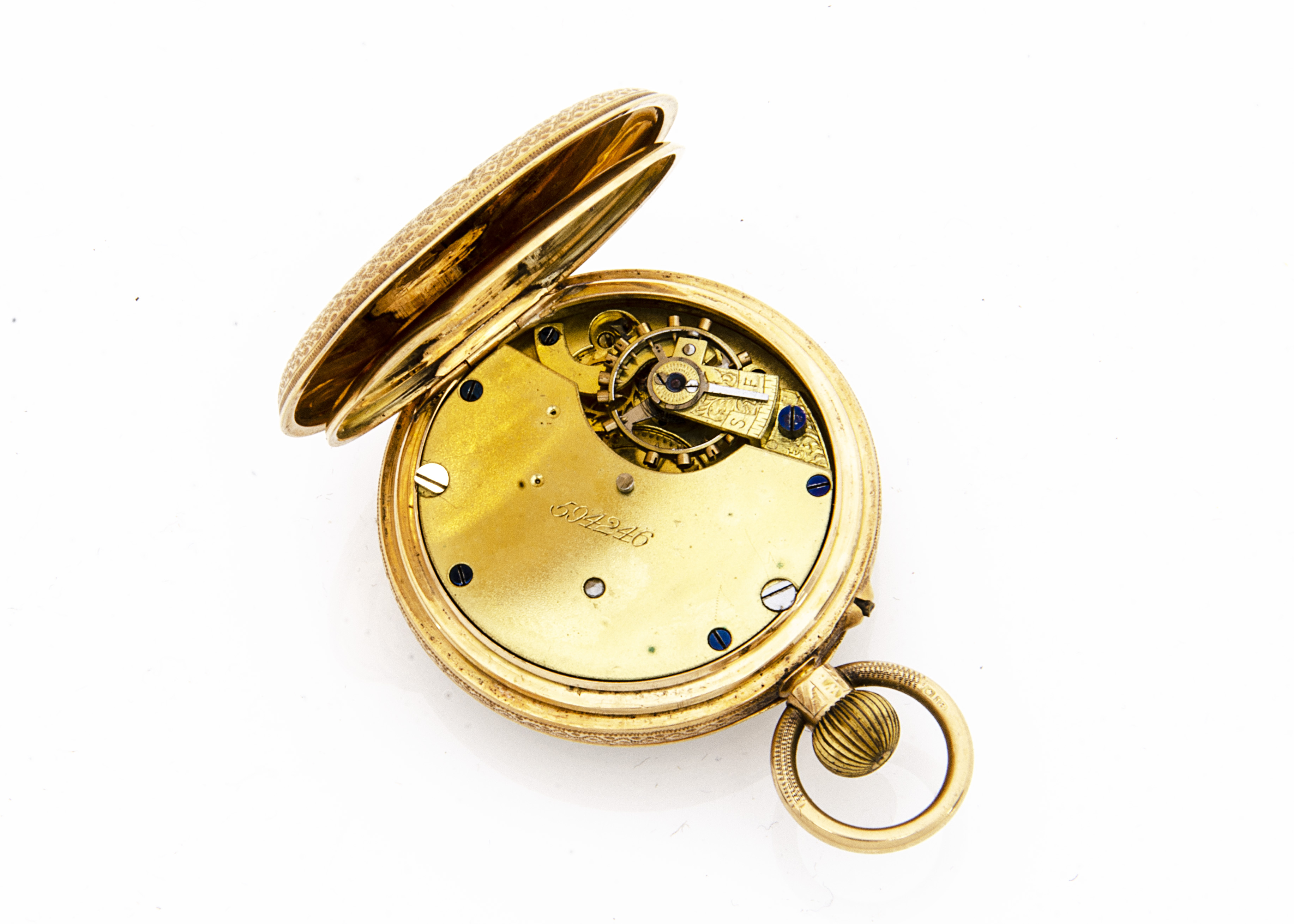 An Edwardian 18ct gold open faced pocket watch, 37mm, appears to run, 48.7g, hallmarked to rear - Image 3 of 3