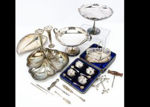 A collection of silver and silver plate, including a cased set of four cauldron salts and spoons,