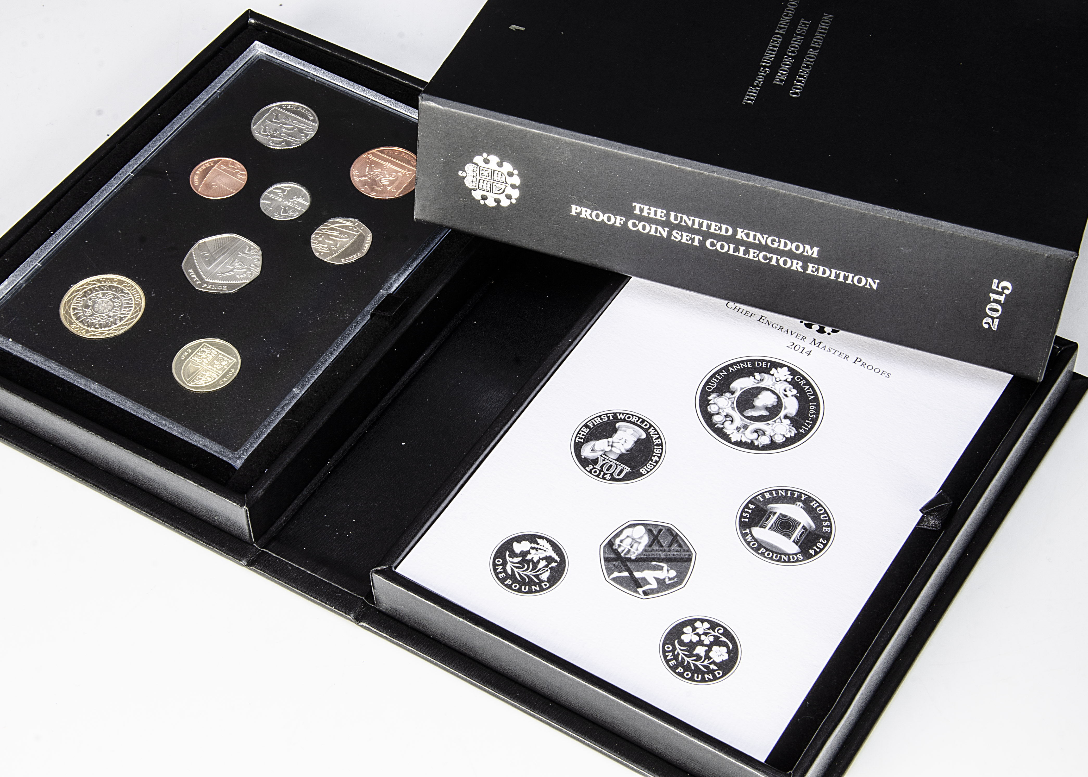 Two modern Royal Mint UK proof coin set Collector Edition sets, dated 2014 and 2015 (2)