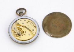 A WWII period Jaeger-LeCoultre Military chromed pocket watch, AF, 51mm with black dial, not