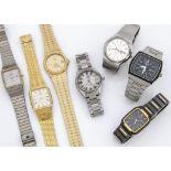 Seven quartz gentlemen's wristwatches, including a Tissot Seastar, two Citizen, a Bulova, a Seiko