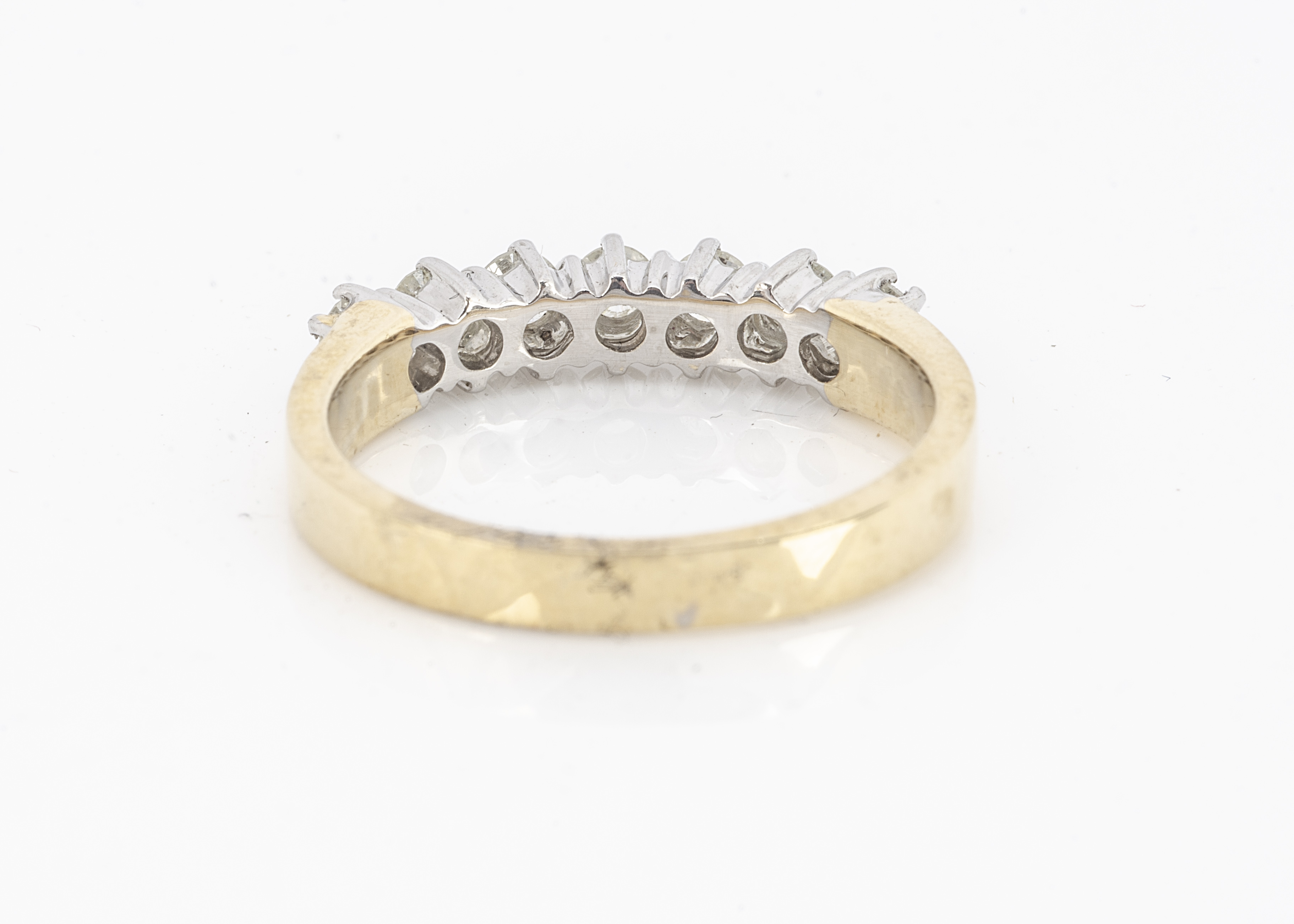 A certificated diamond seven stone dress ring, the seven brilliant cuts in claw setting, 18ct gold - Image 2 of 2