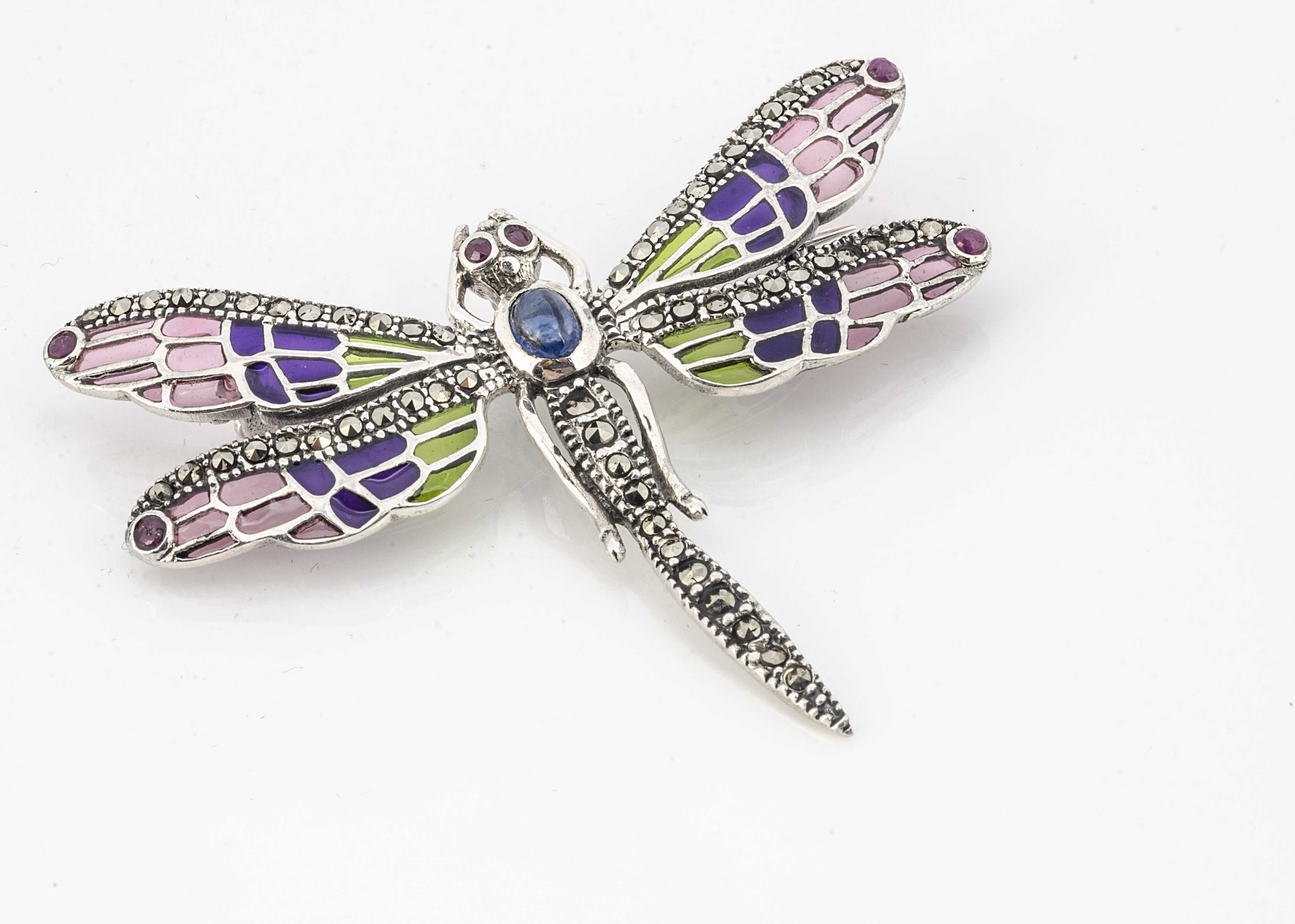 A white metal plique a jour dragonfly brooch, set with cabochon ruby eyes, sapphire abdomen and