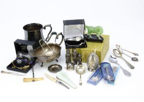 A small group of silver plate and watches, including a plated tankard and spoons, six ladies