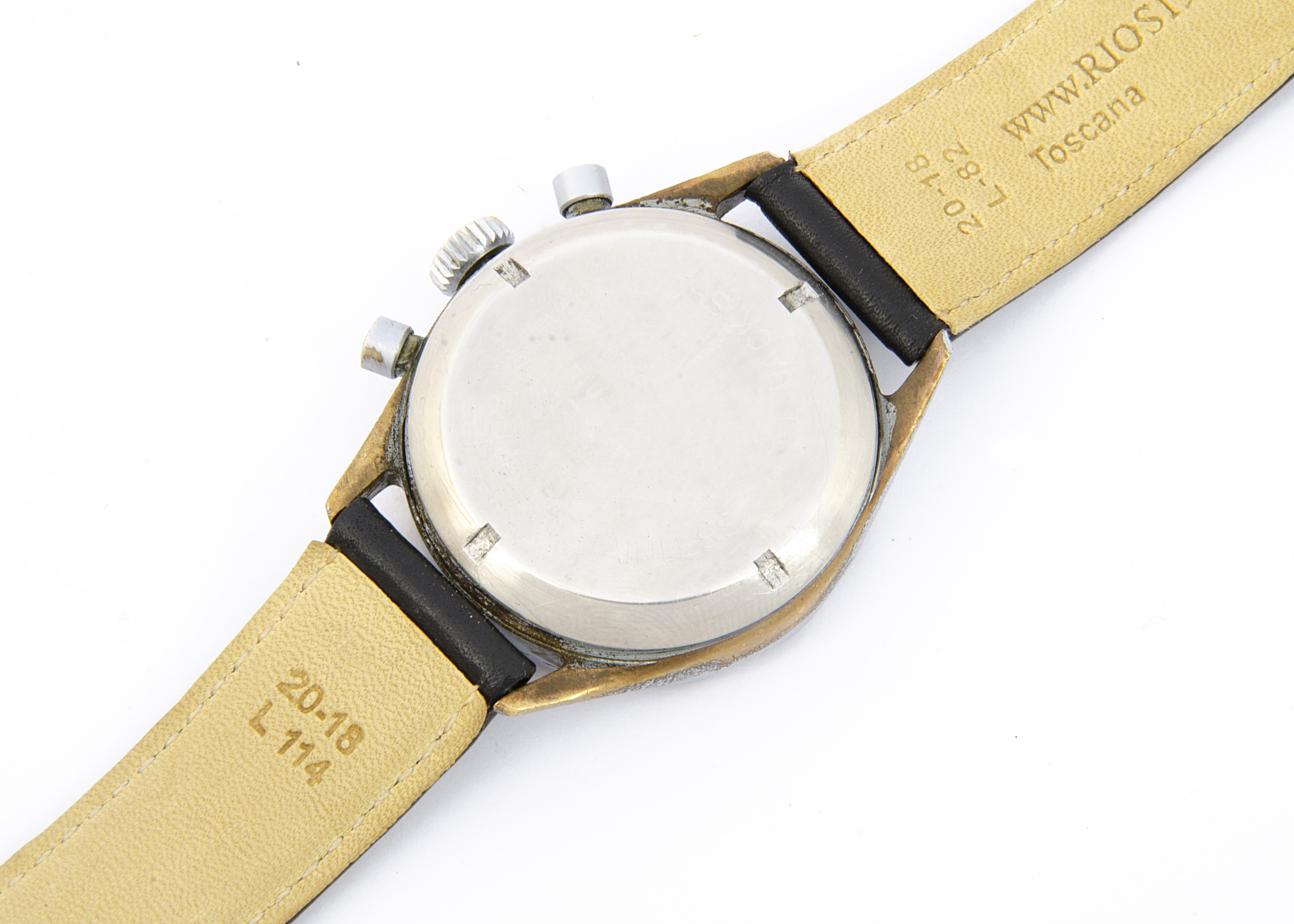A c1960s Junghans Military German Airforce wristwatch, 38mm nickel plated case, running, two push - Image 4 of 4