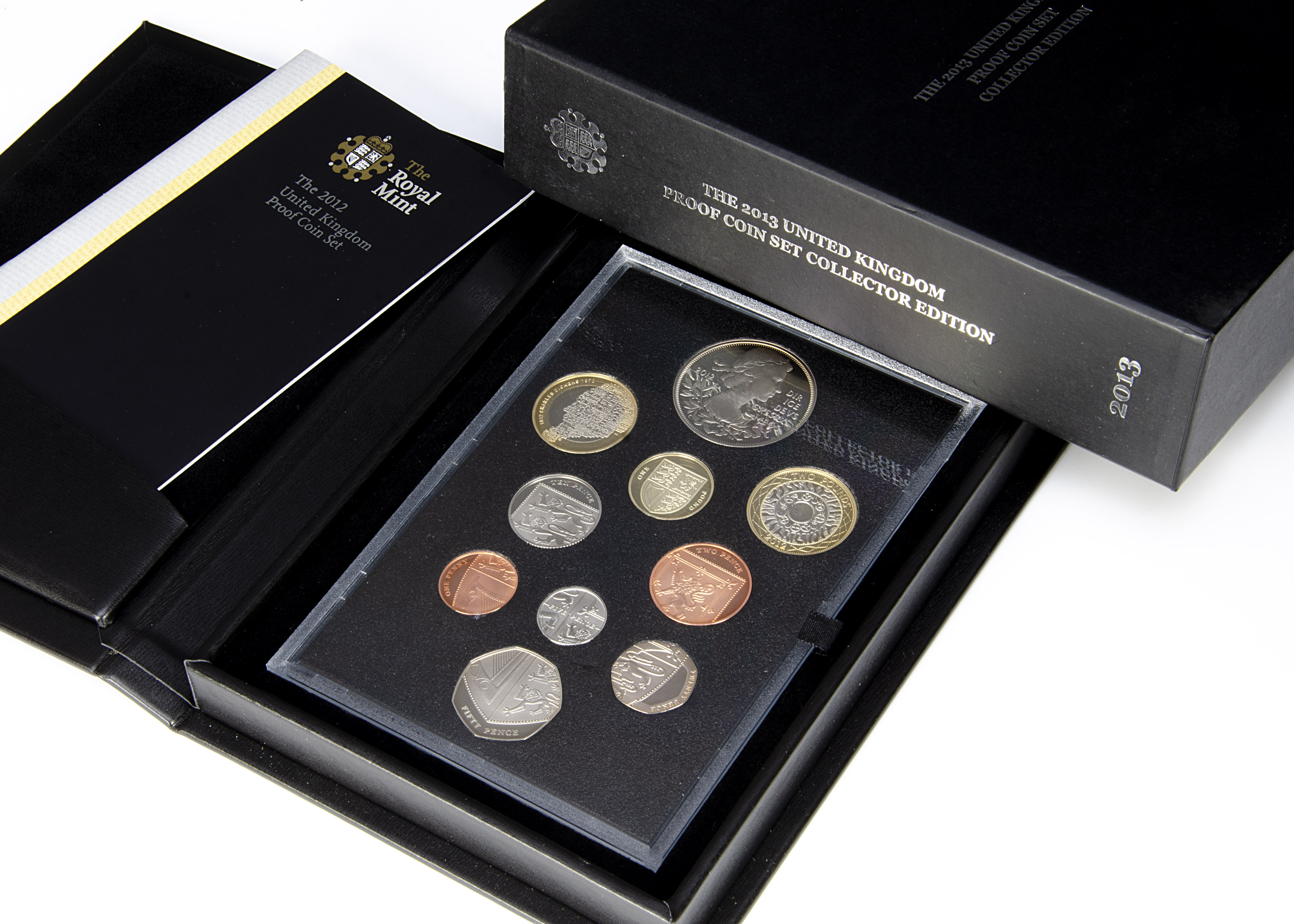 Two modern Royal Mint UK proof coin sets, one 2012, the other 2013 Collector Edition (2)
