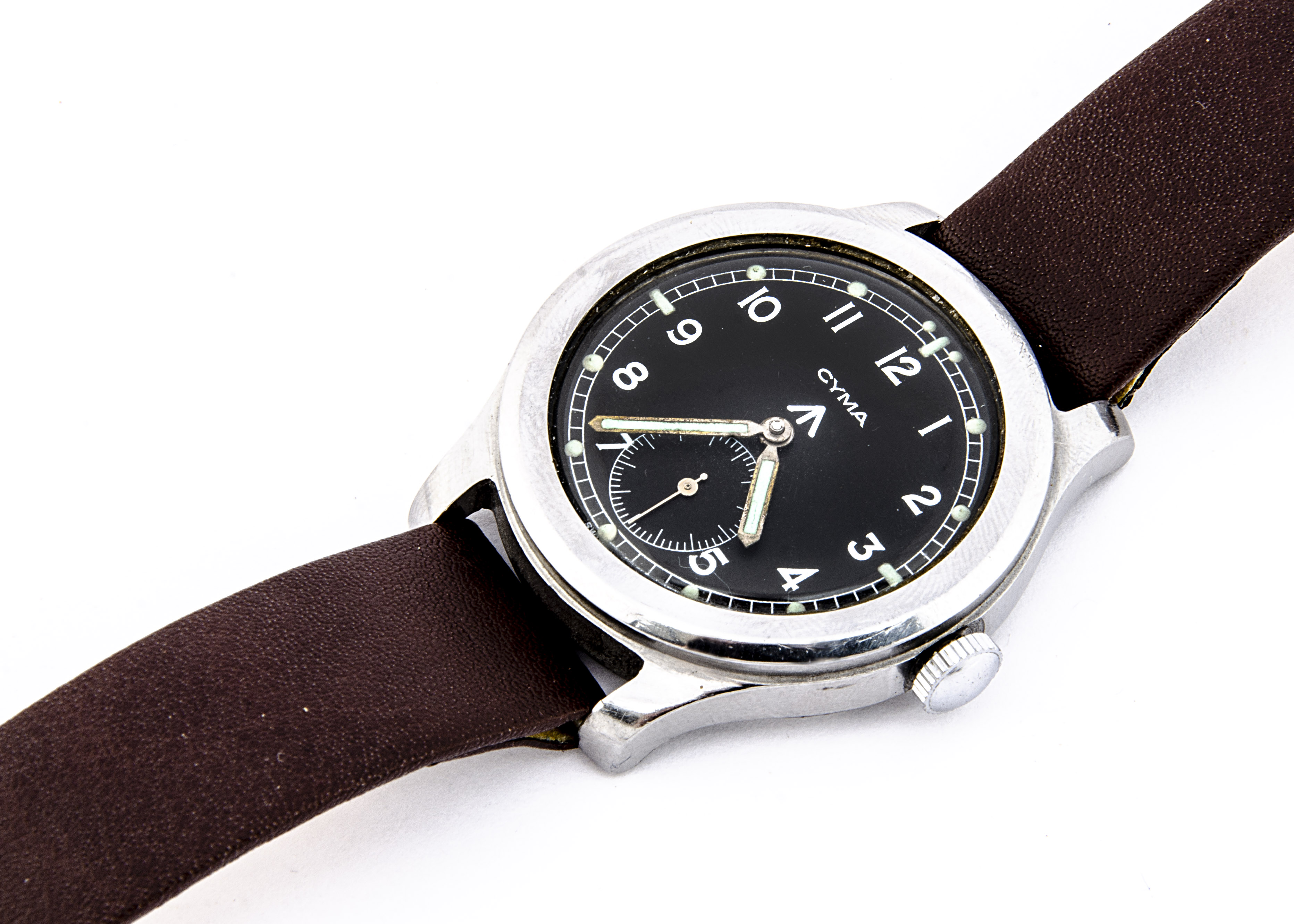 """A c1940s Cyma WWW Military """"Dirty Dozen"""" stainless steel wristwatch, 37mm case, running, black - Image 4 of 7"""