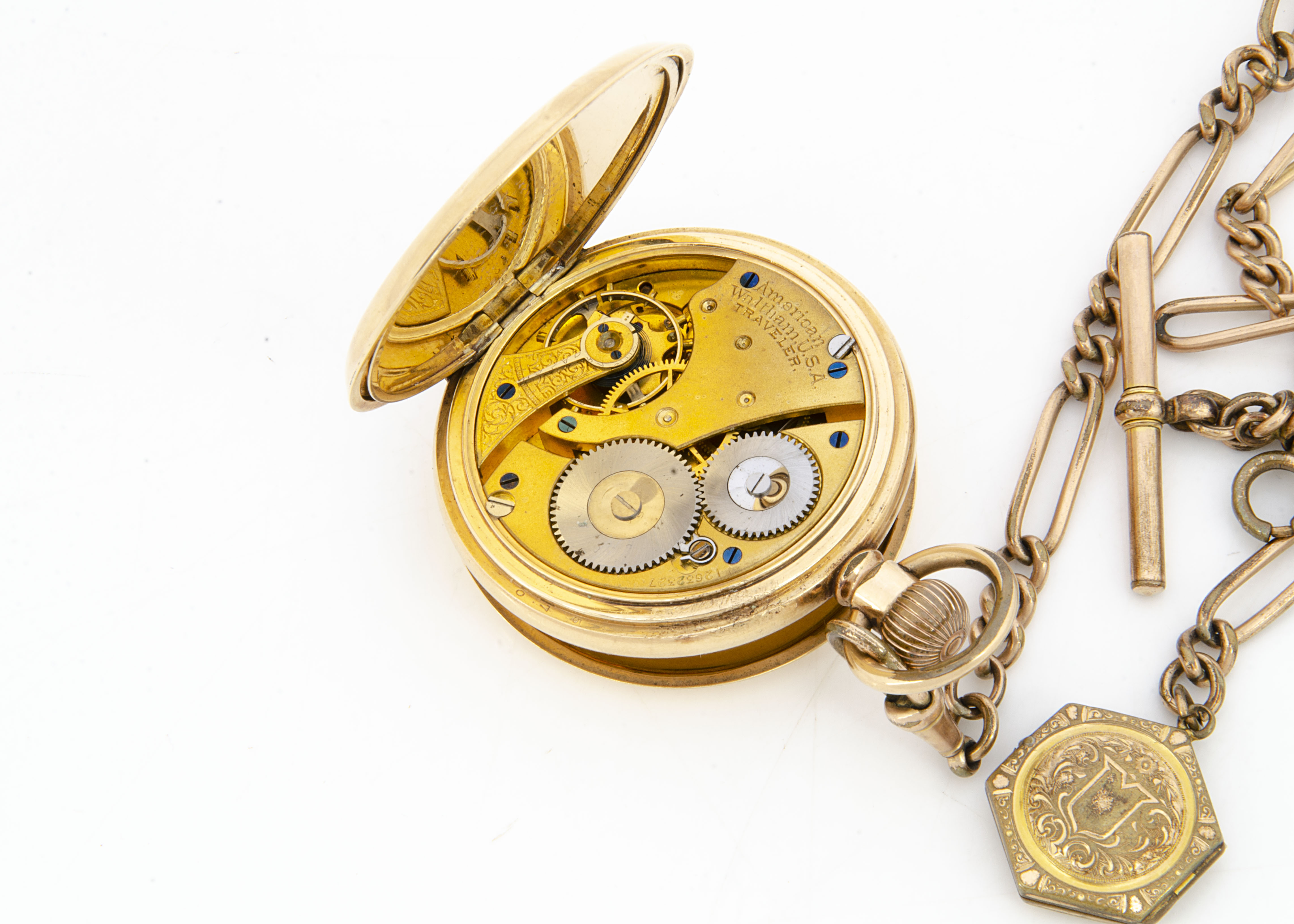 An early 20th Century Waltham gold plated full hunter pocket watch, 55mm, appears to run, with a - Image 2 of 3
