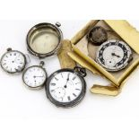 A Victorian silver cased open faced pocket watch, AF, marked HE Peck London, together with a
