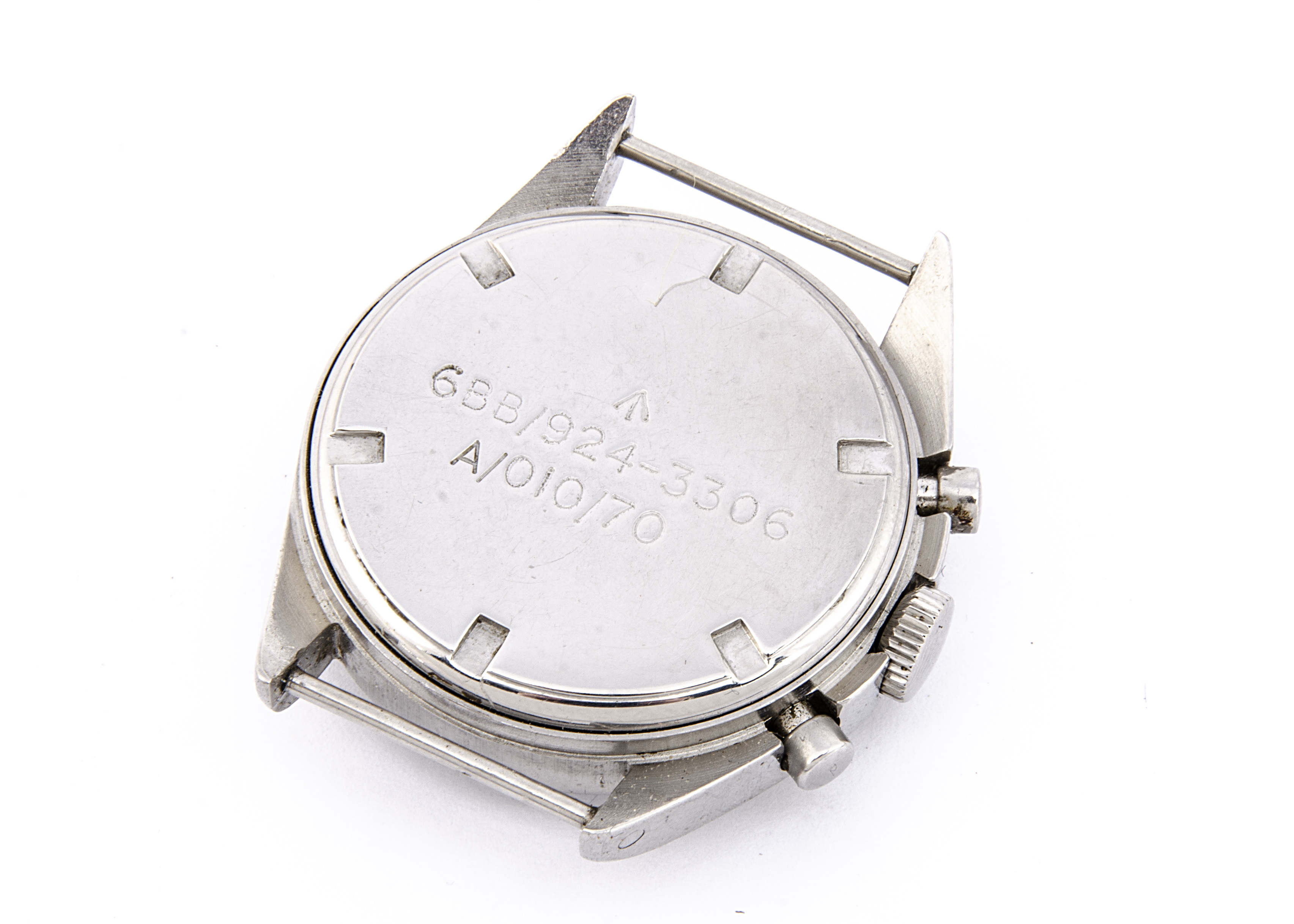 A c1970s Hamilton two button chronograph Royal Air Force stainless steel wristwatch, 38mm case, - Image 4 of 4