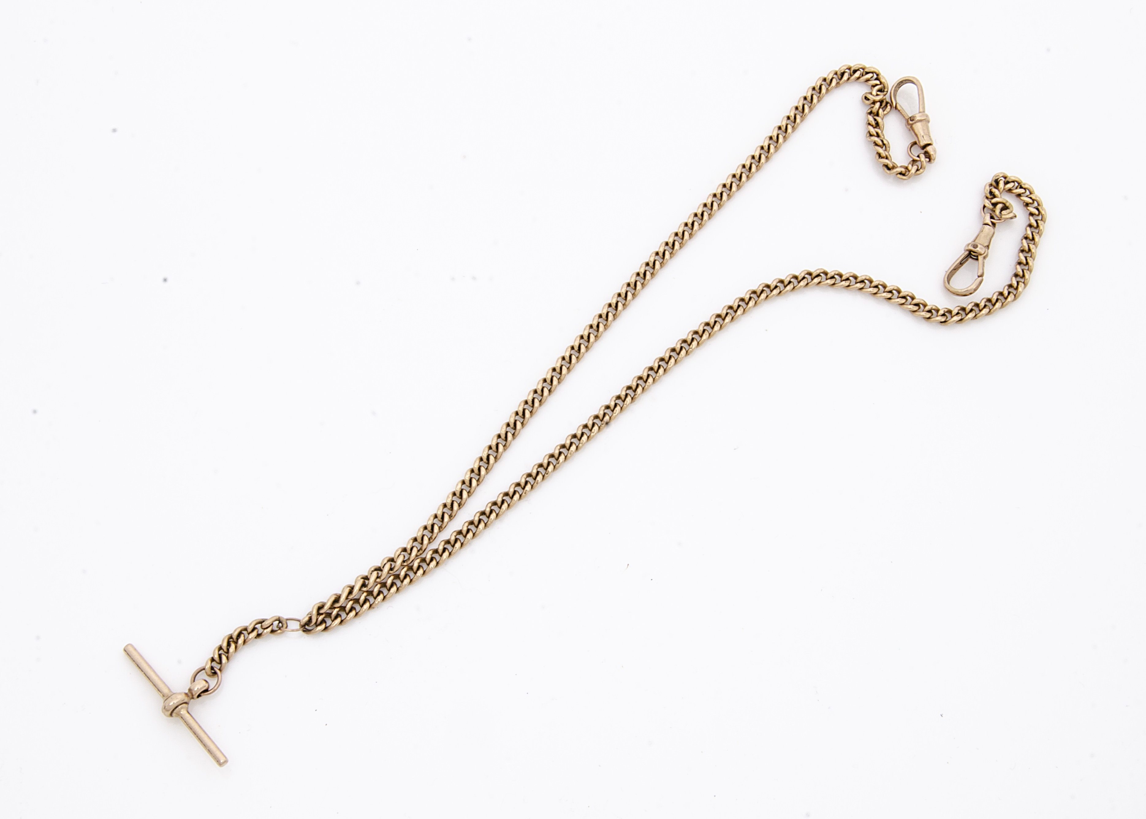 A mid to late 20th Century 9ct gold watch chain, small curb link double Albert chains with hallmarks
