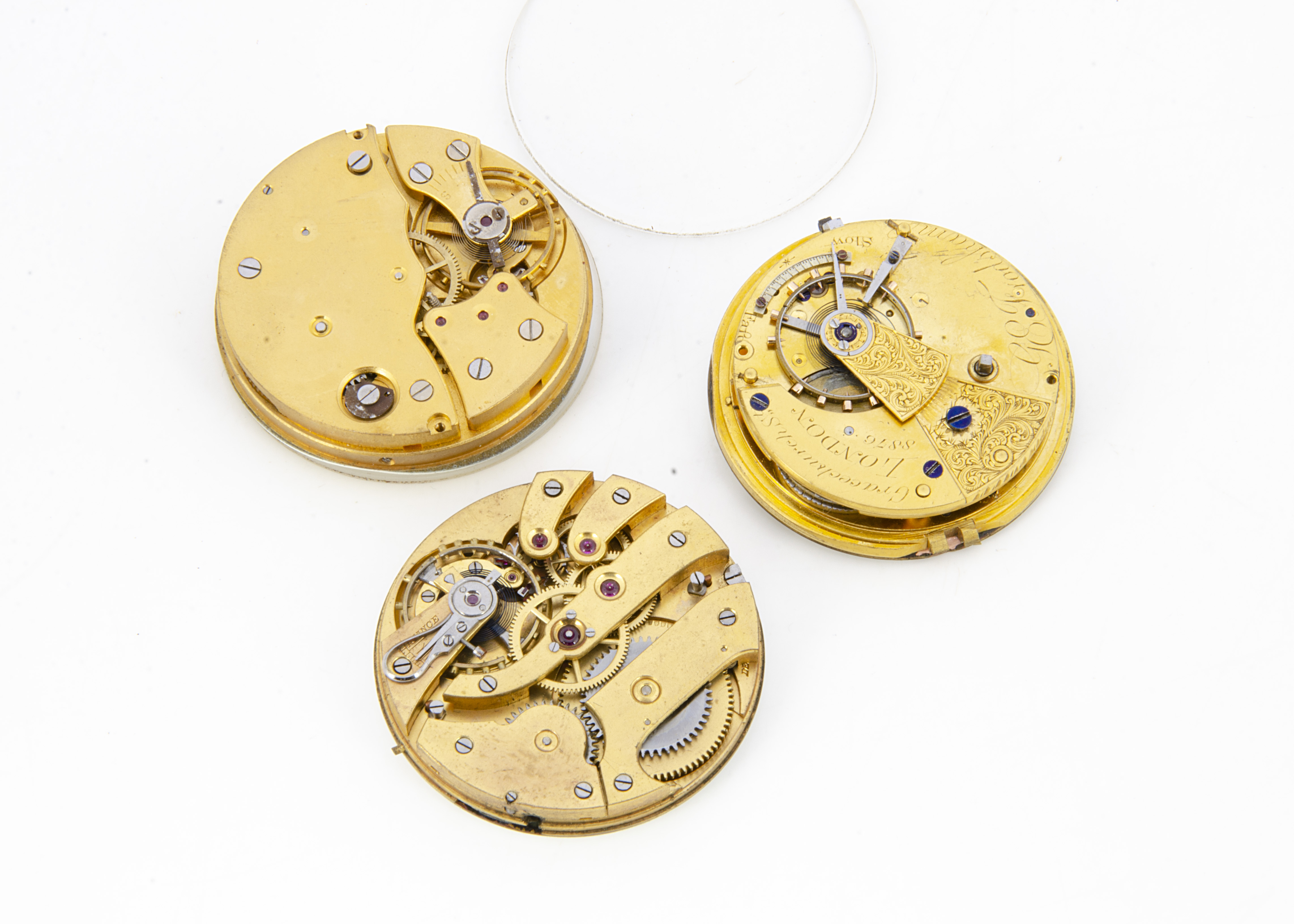 Three pocket watch movements, one by Frodsham, running, dial AF, and two others