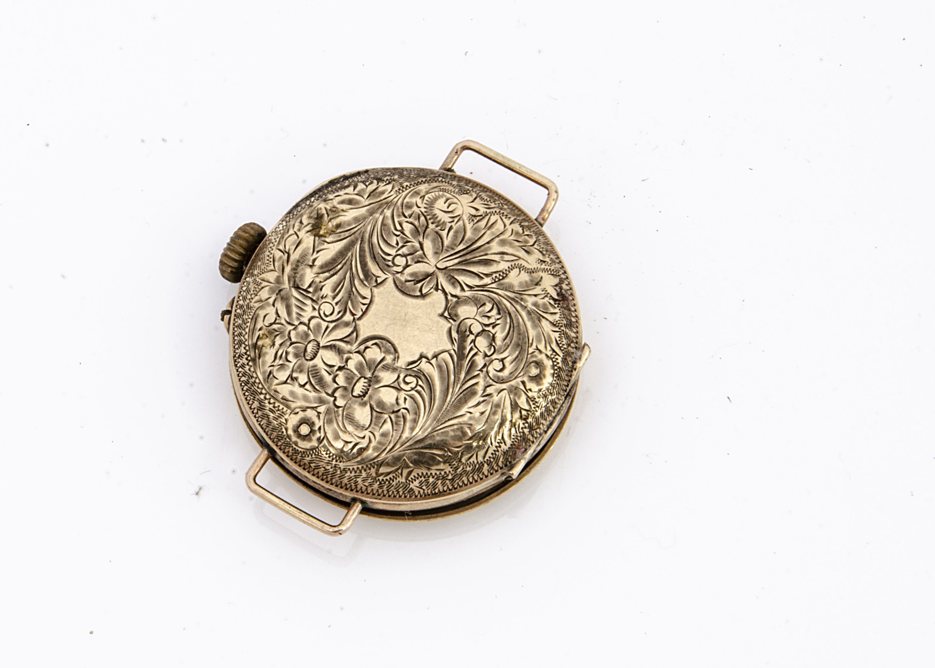 A late 19th Century 9ct gold cased pocket watch converted to wristwatch, 30mm, white enamel dial, - Image 2 of 2