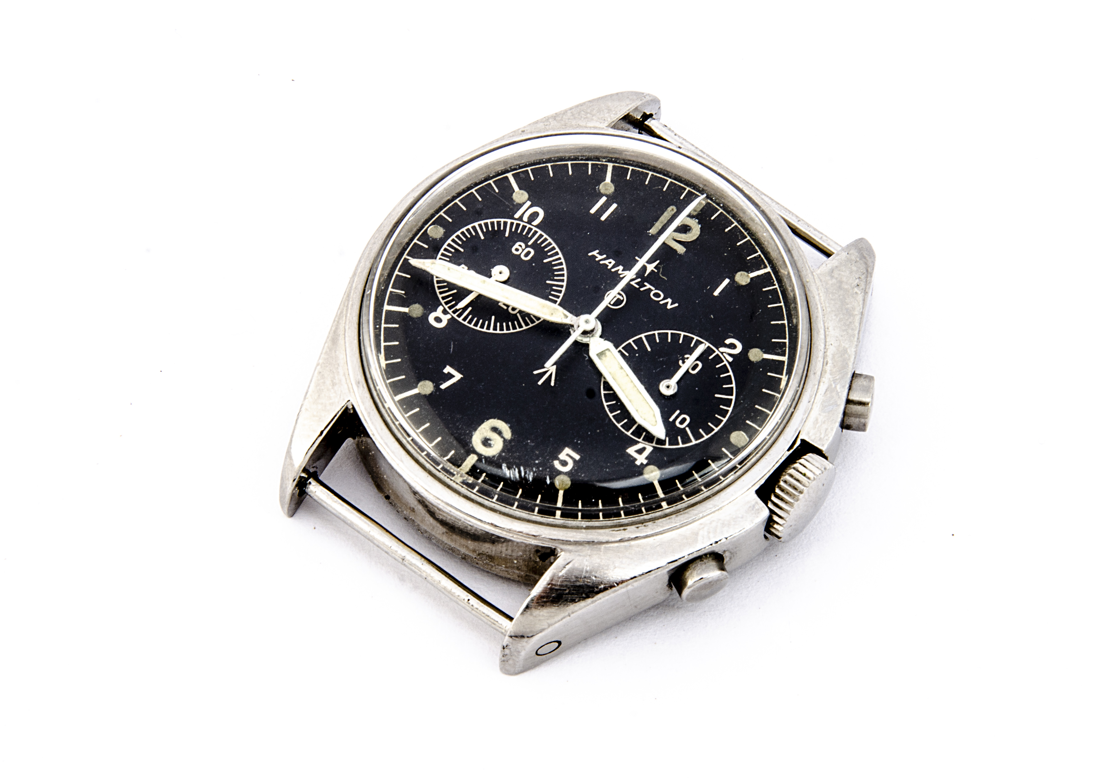 A 1970s Hamilton two button chronograph Royal Air Force stainless steel wristwatch, 39mm case,