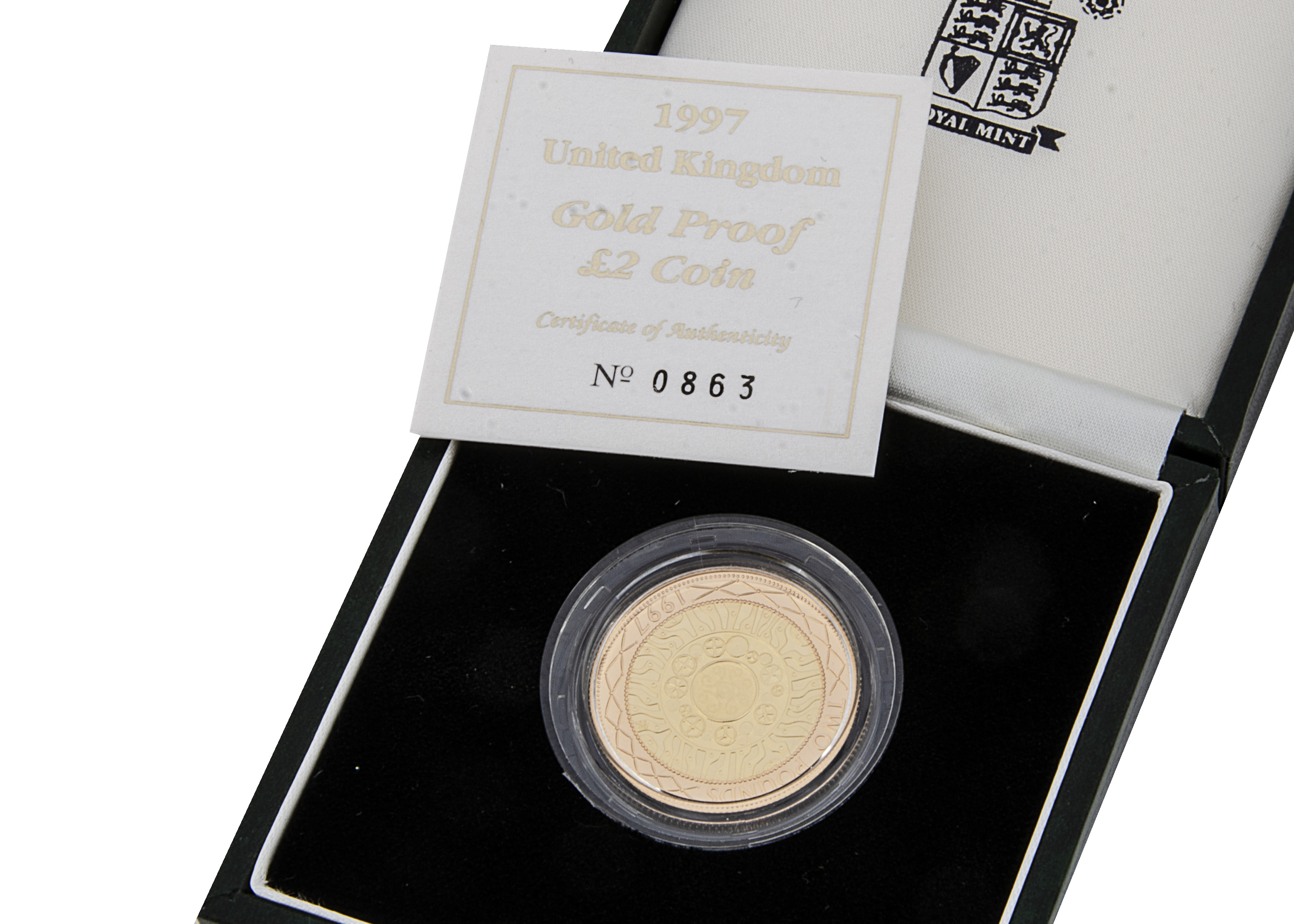 A modern Royal Mint UK Gold Proof Two Pound Coin, 1997, in box with certificate, 15.98g