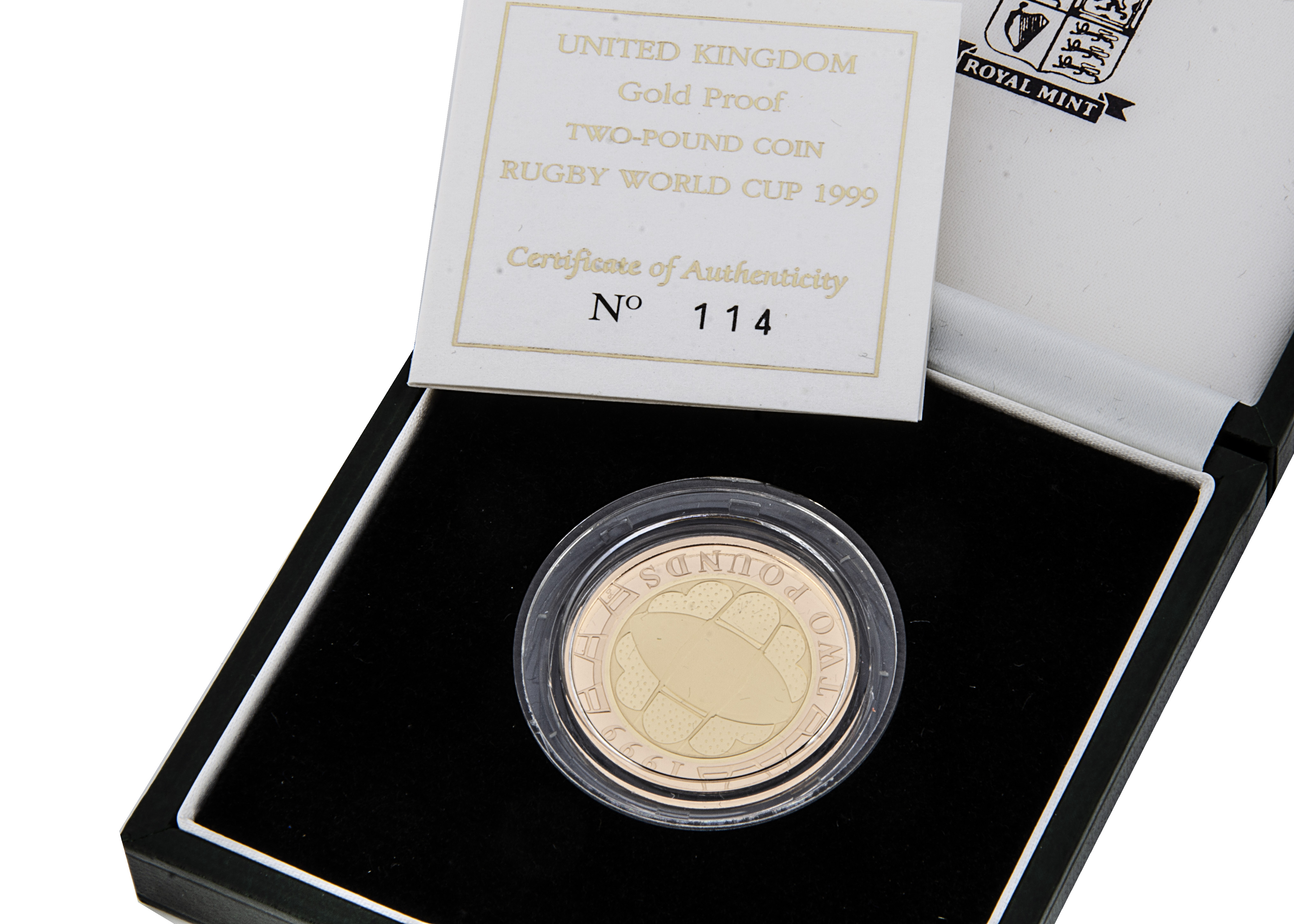 A modern Royal Mint UK Gold Proof Two Pound Coin, 1999, in box with certificate, 15.98g, celebrating