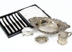 A Victorian silver pierced dish, together with a silver mustard, lacks liner, a set of six silver