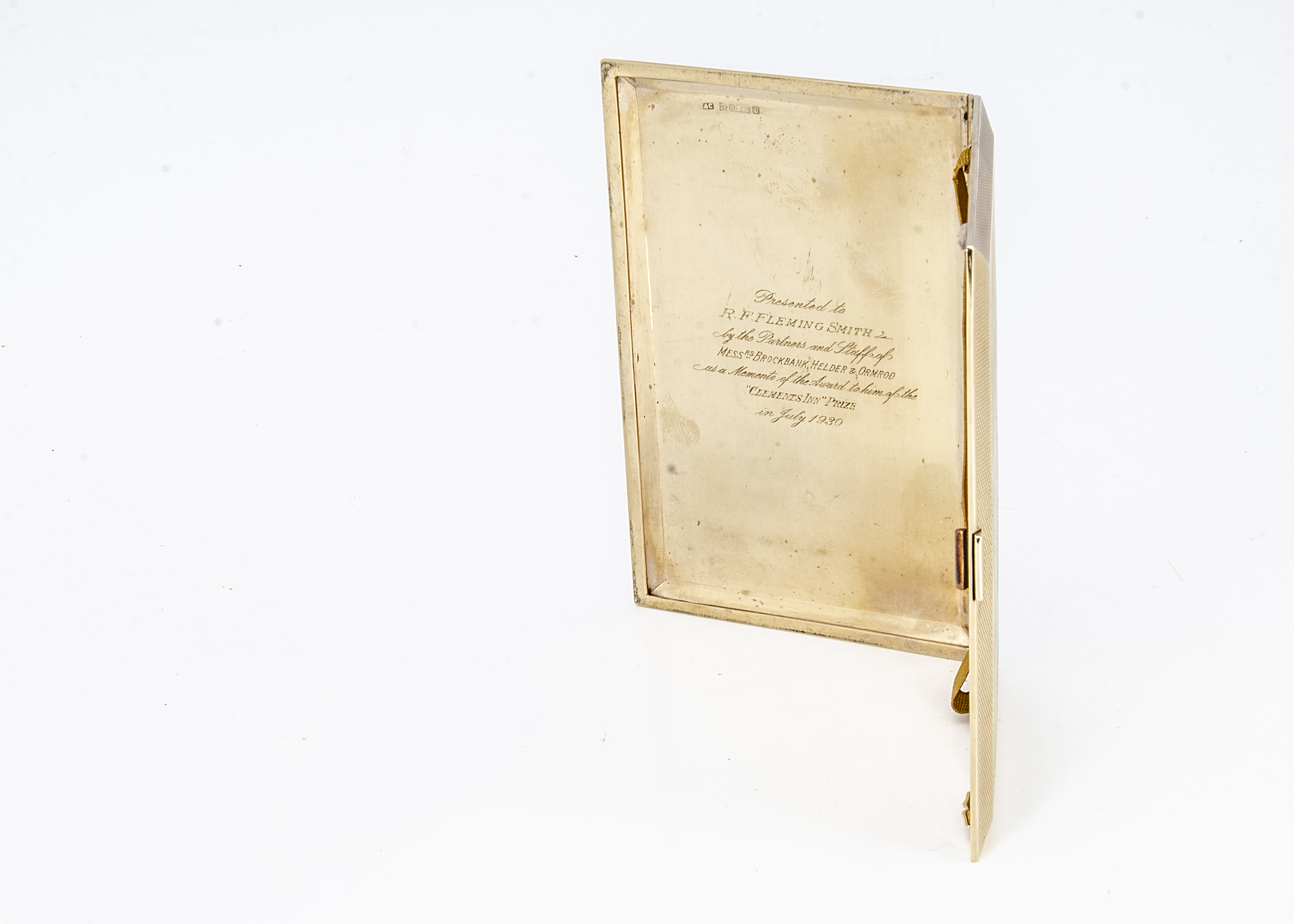 A George V 9ct gold cigarette case by C & C, rectangular with engine turned exterior, initials - Image 2 of 2