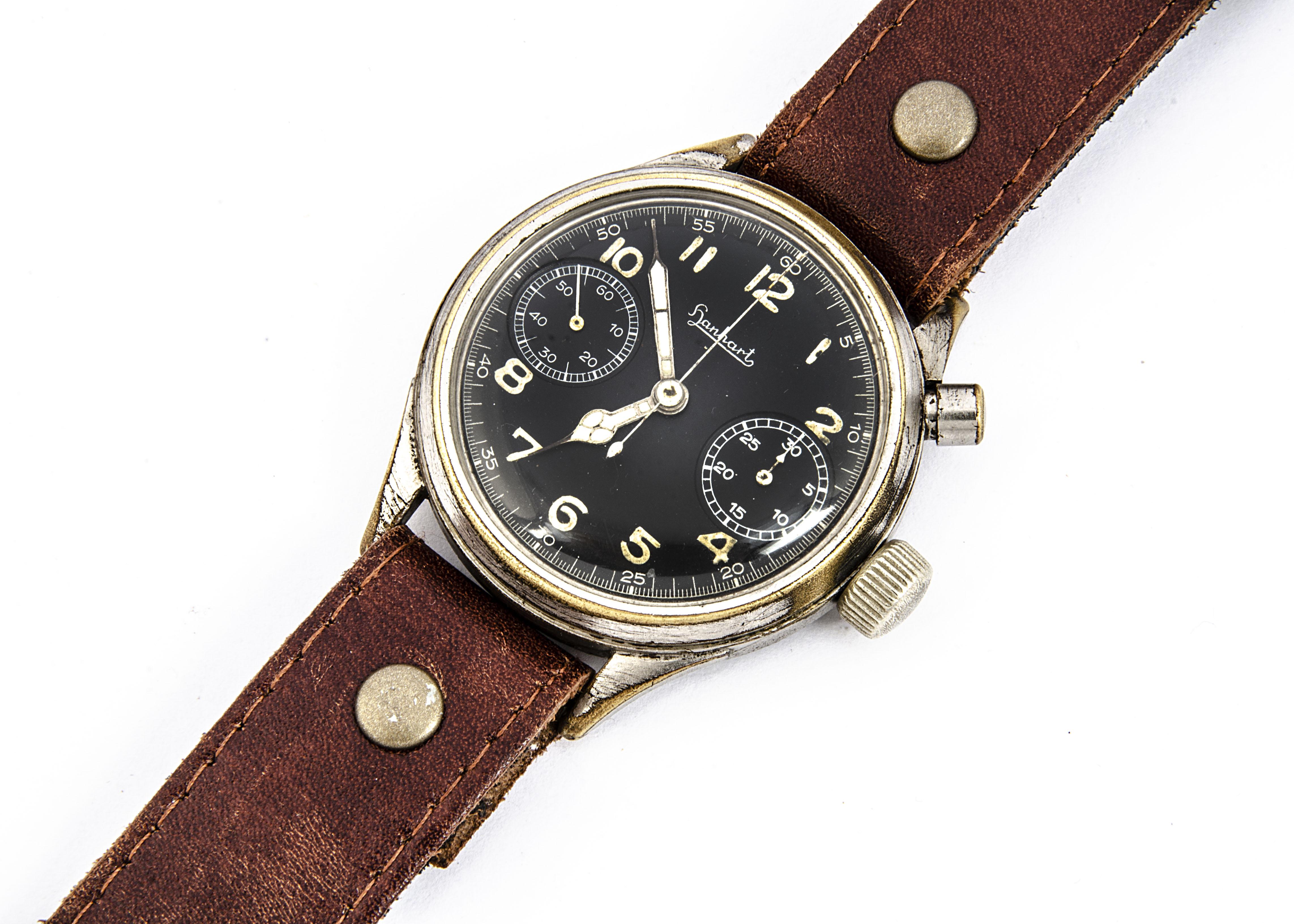 A WWII period Hanhart German Luftwaffe chronograph wristwatch, 40mm plated nickel case, running, - Image 3 of 6