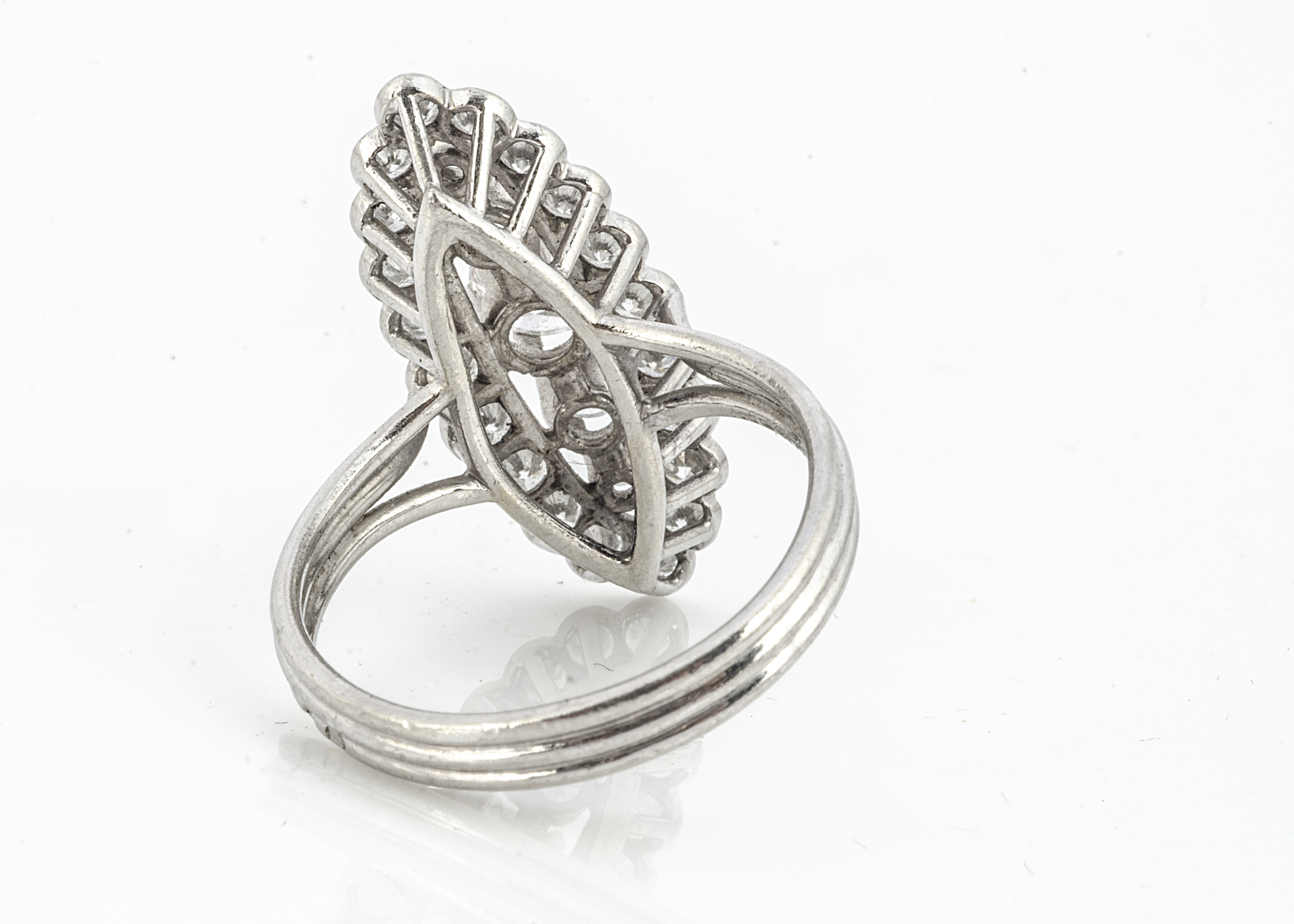 A French diamond set dress ring, of navette shape with a central band of claw set brilliant cut - Image 2 of 2