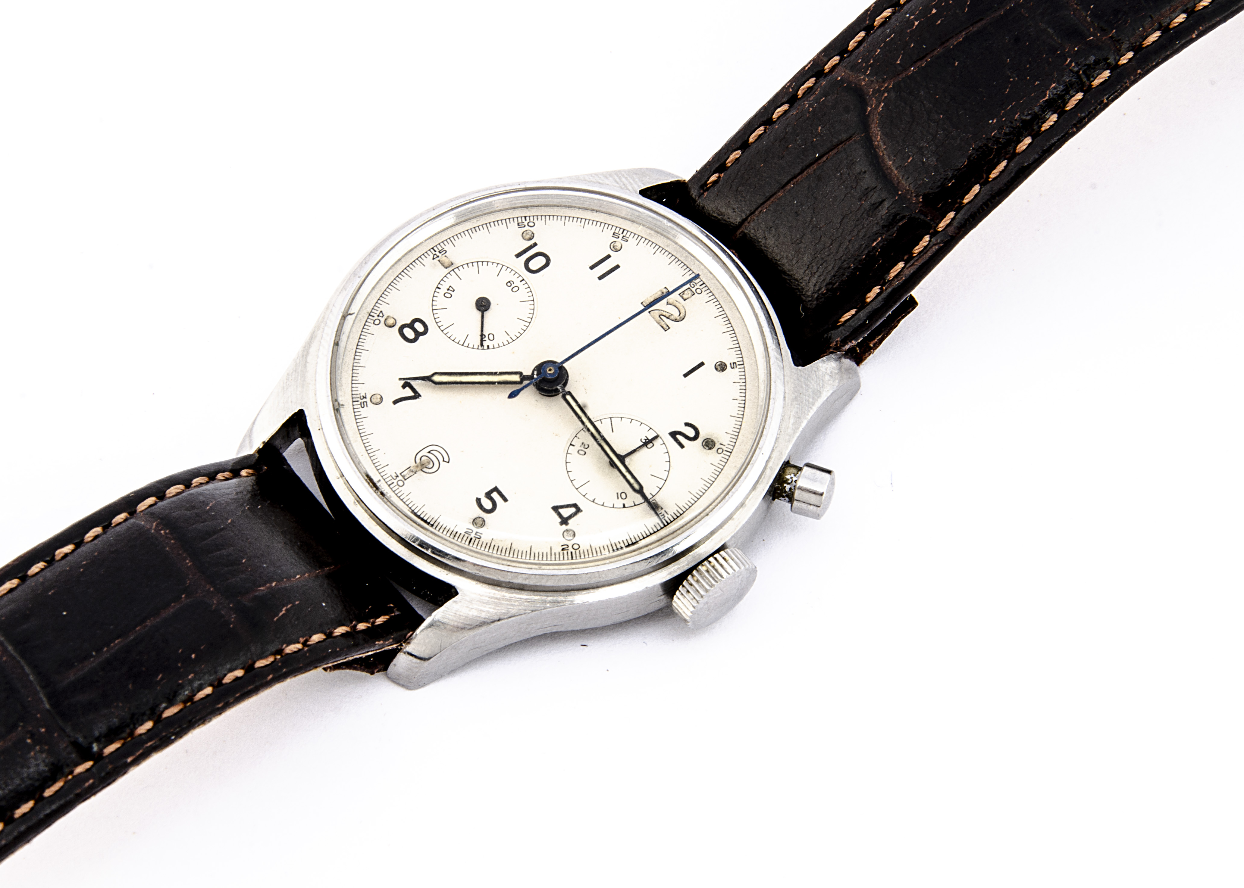 A late 1940s or early 1950s Lemania RN / FAA single button chronograph stainless steel wristwatch,