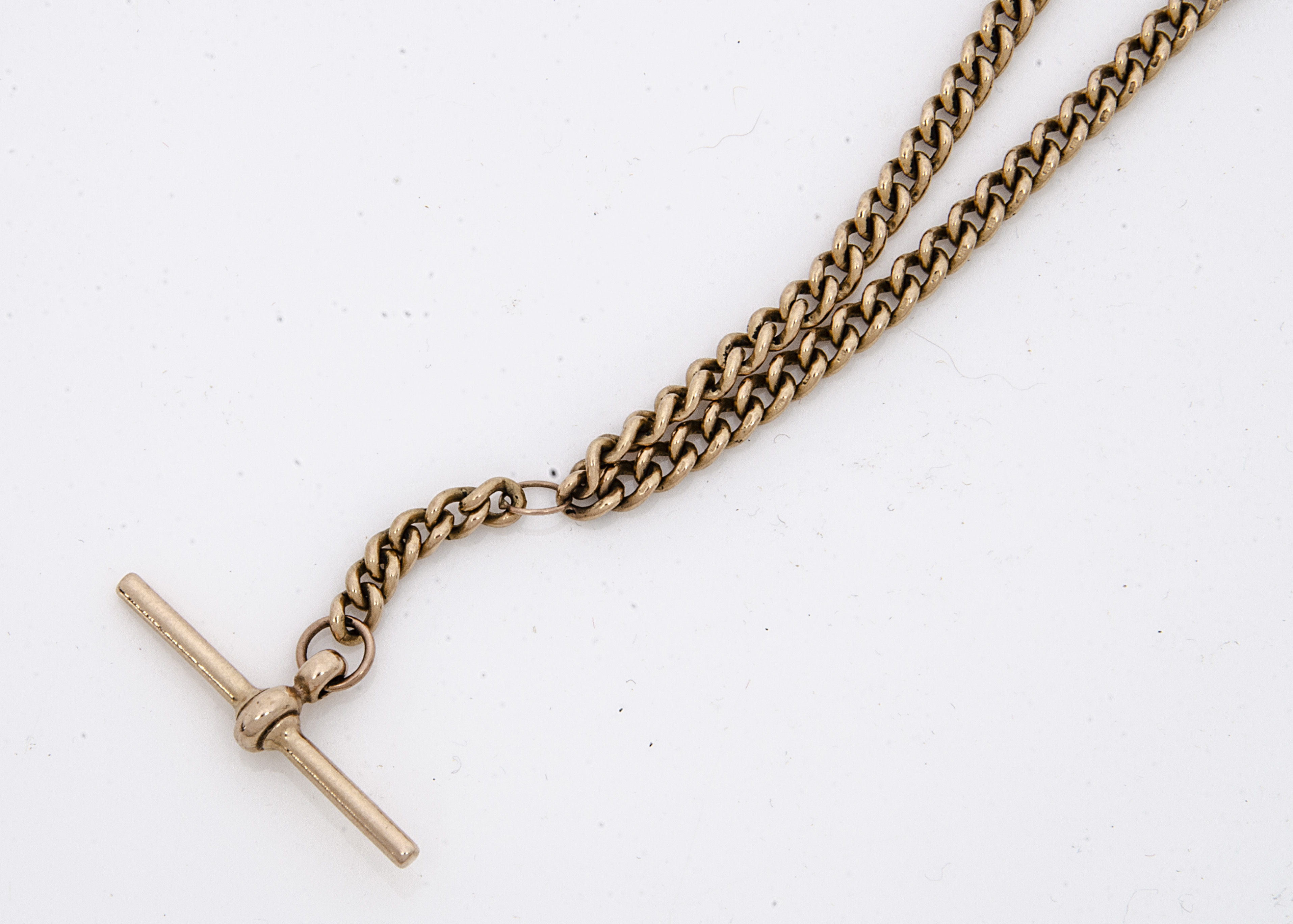 A mid to late 20th Century 9ct gold watch chain, small curb link double Albert chains with hallmarks - Image 2 of 2