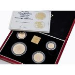 A modern Royal Mint UK Gold Proof Four Coin Sovereign Collection, 1995, comprising five pound,