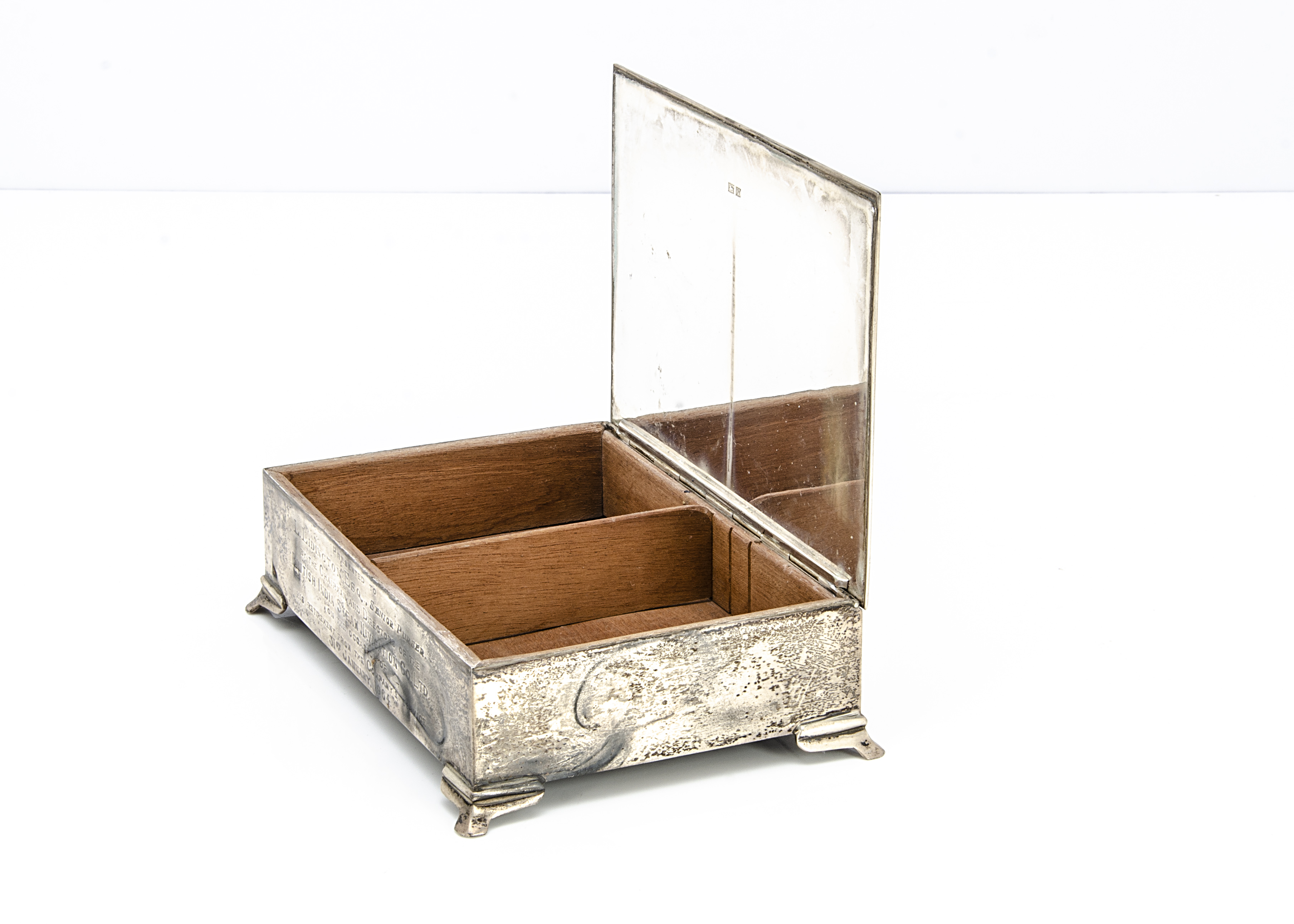 A 1960s silver presentation cigarette box from Alexander Clark & Co, rectangular on bracket style - Image 2 of 2