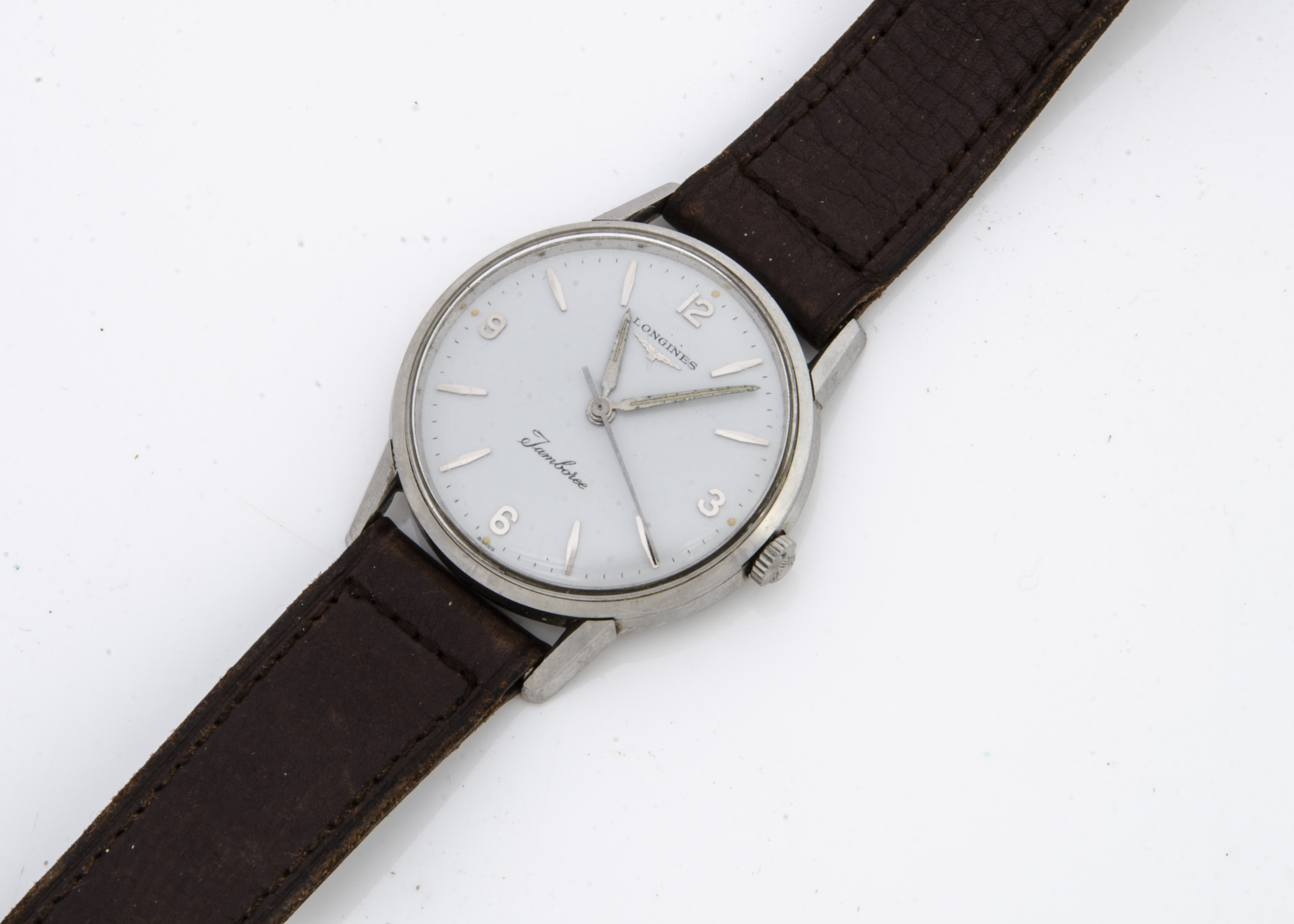 A c1970s Longines Jamboree stainless steel gentleman's wristwatch, 34mm, white dial, manual wind,